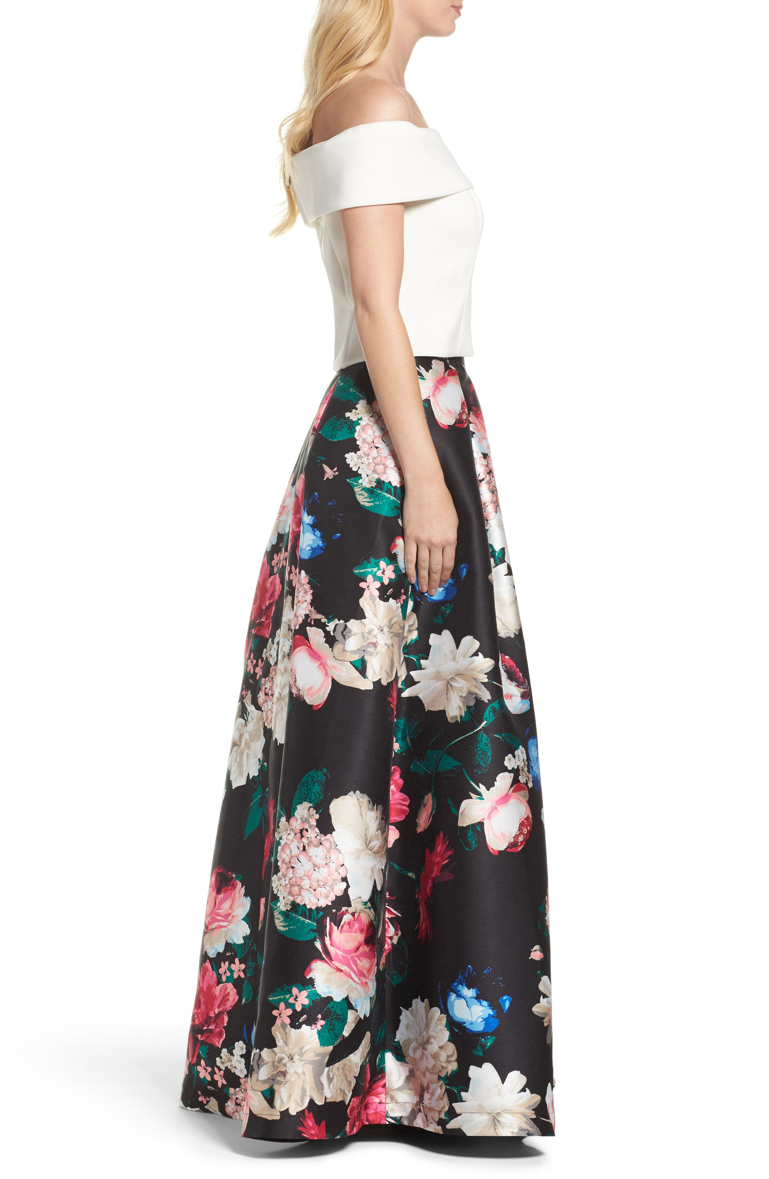 Faille Ball Skirt,                             Alternate thumbnail 5, color,                             Black/ Pink