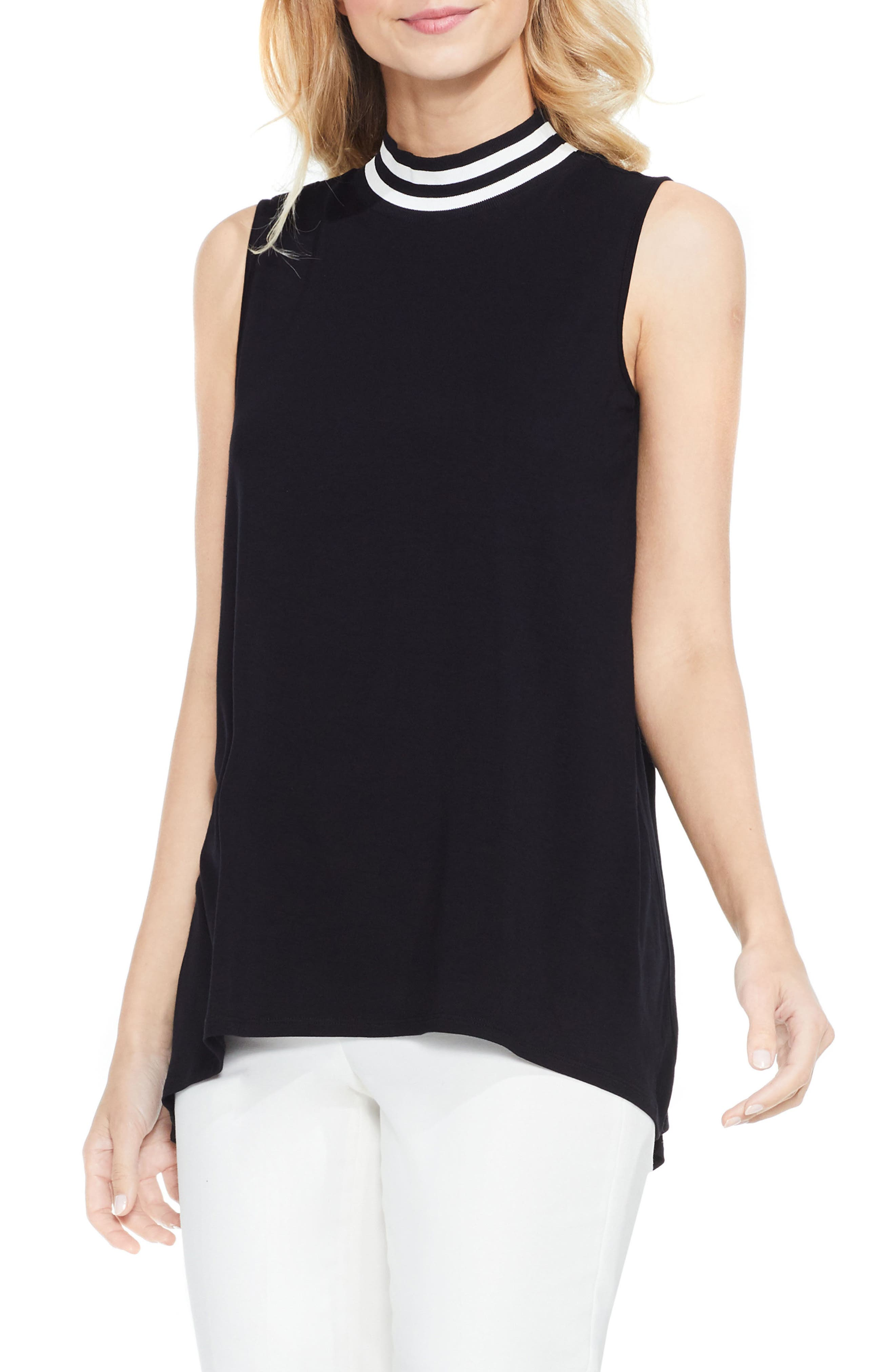 VINCE CAMUTO Stripe Neck High/Low Top