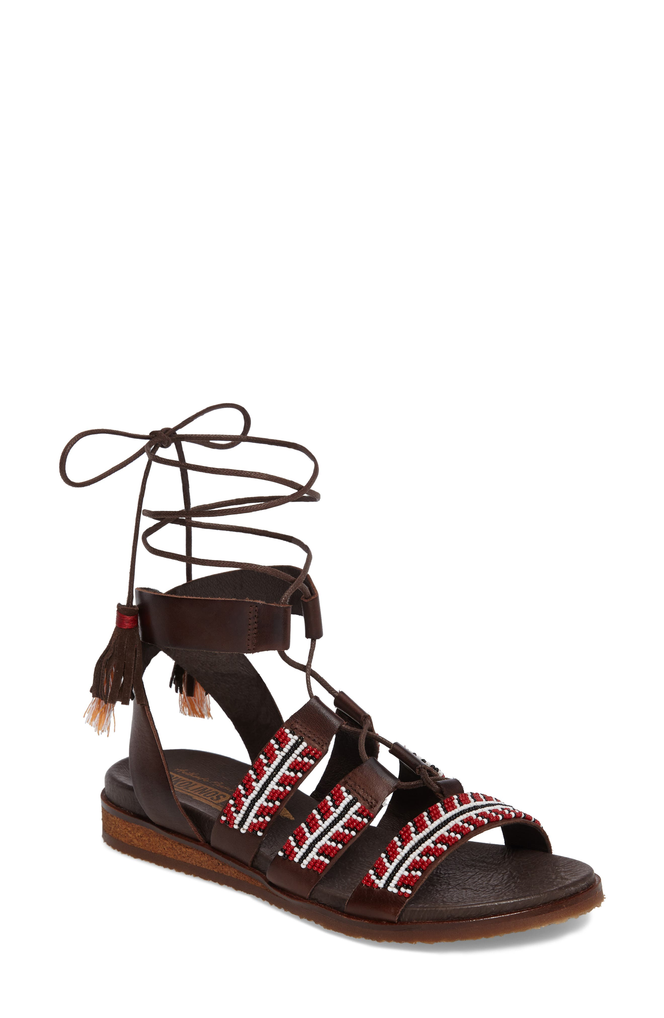 Antillas Beaded Ghillie Sandal,                         Main,                         color, Olmo Leather