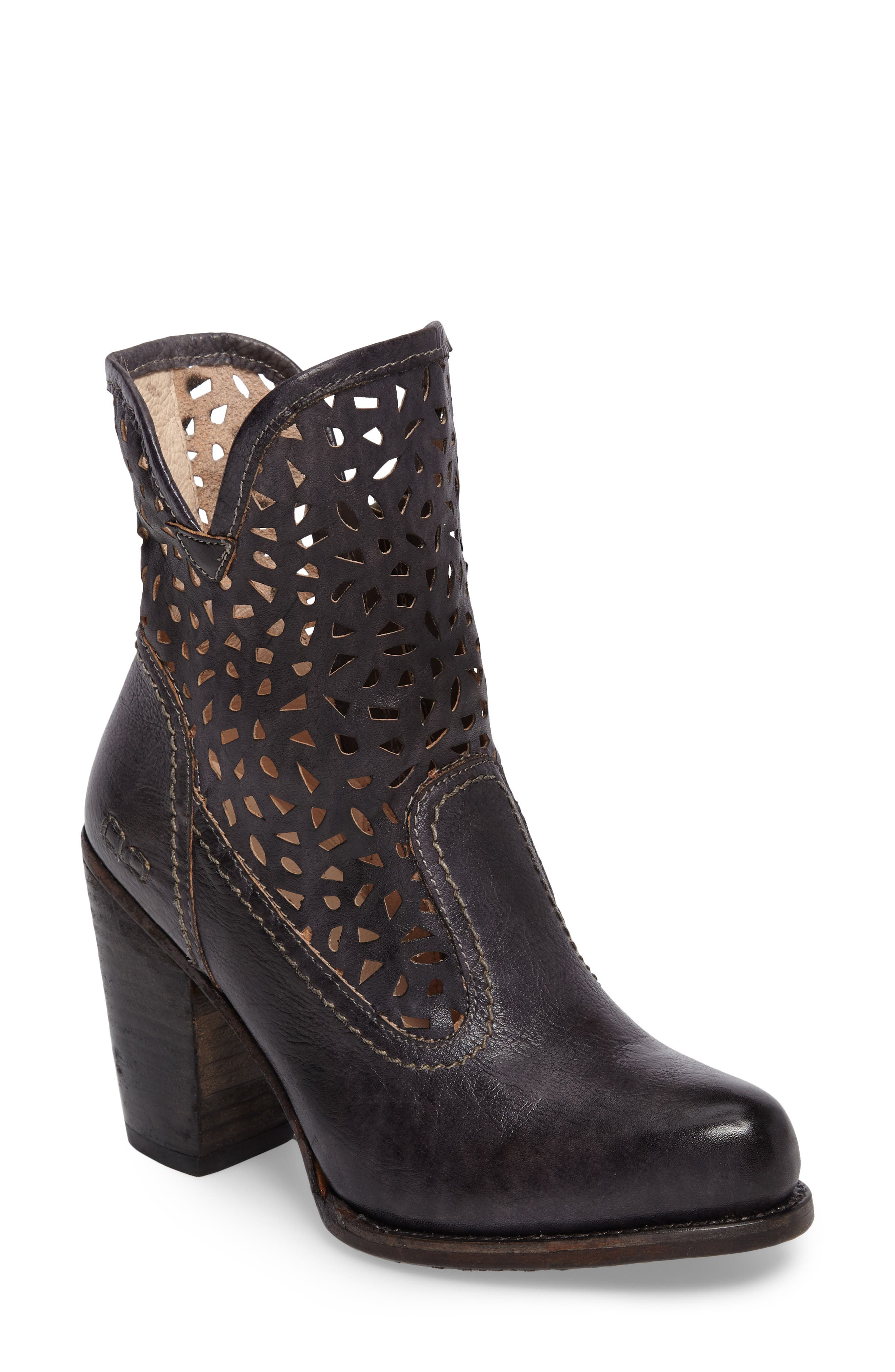 Irma Perforated Boot,                             Main thumbnail 1, color,                             Graphito Rustic Leather