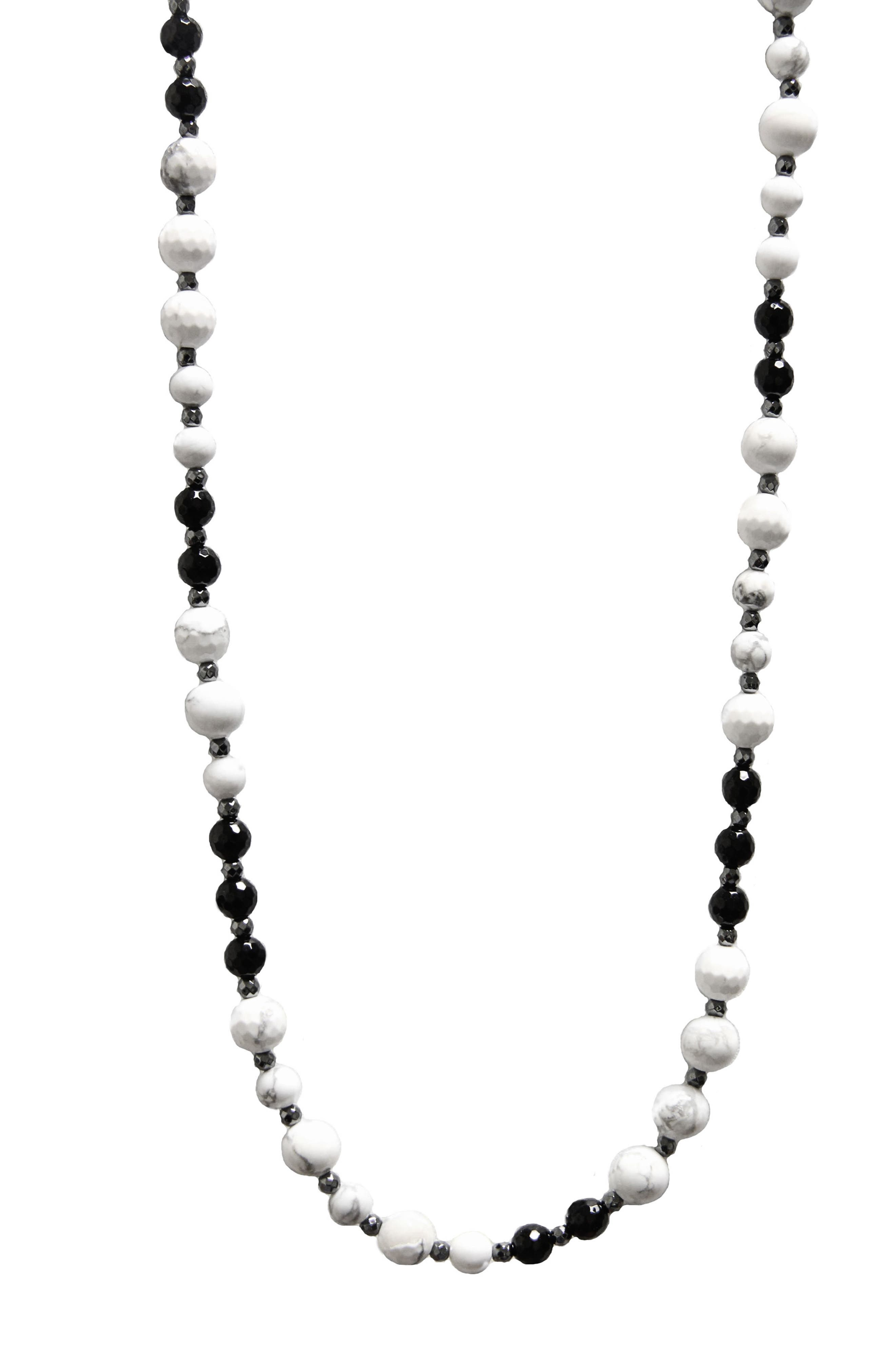 Jane Basch Long Beaded Necklace,                             Main thumbnail 1, color,                             Howlite/ Hematite