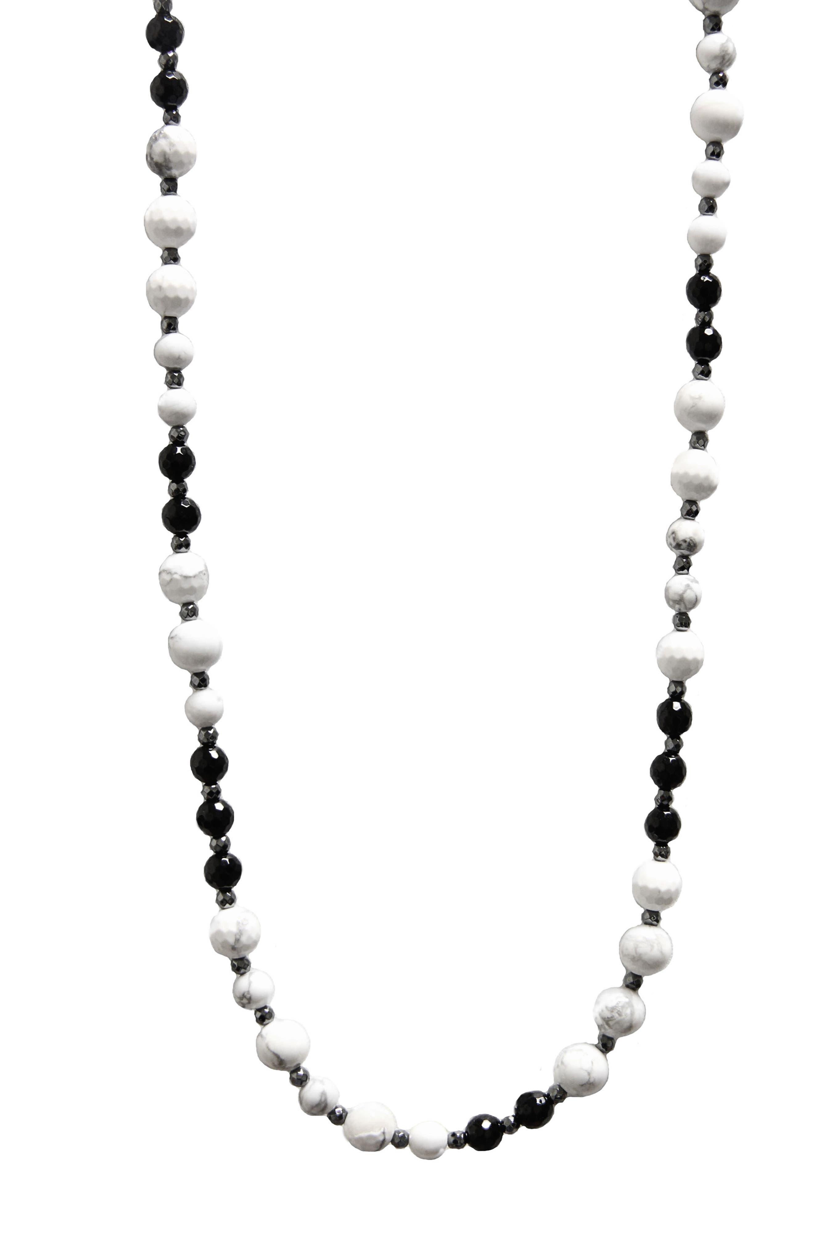 Jane Basch Long Beaded Necklace,                         Main,                         color, Howlite/ Hematite