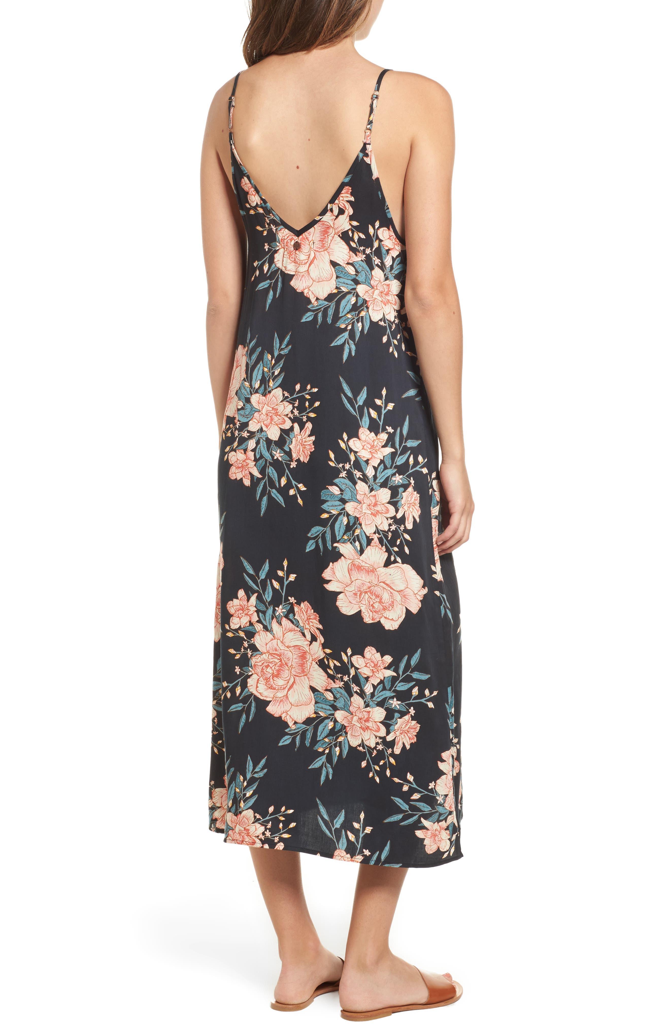 Dreamy Garden Print Dress,                             Alternate thumbnail 2, color,                             Black