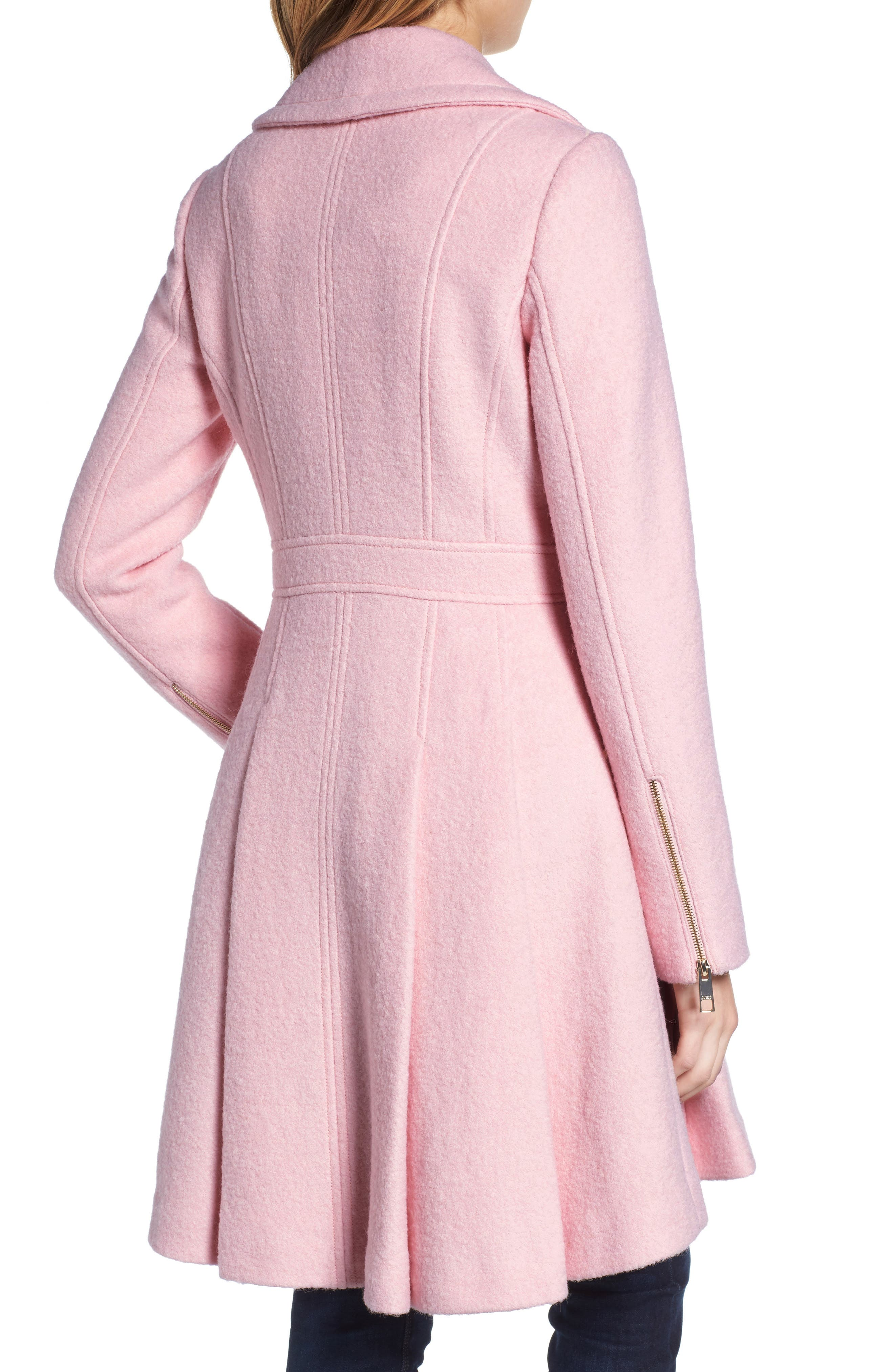 Double Breasted Wool Blend Coat,                             Alternate thumbnail 2, color,                             Pale Pink