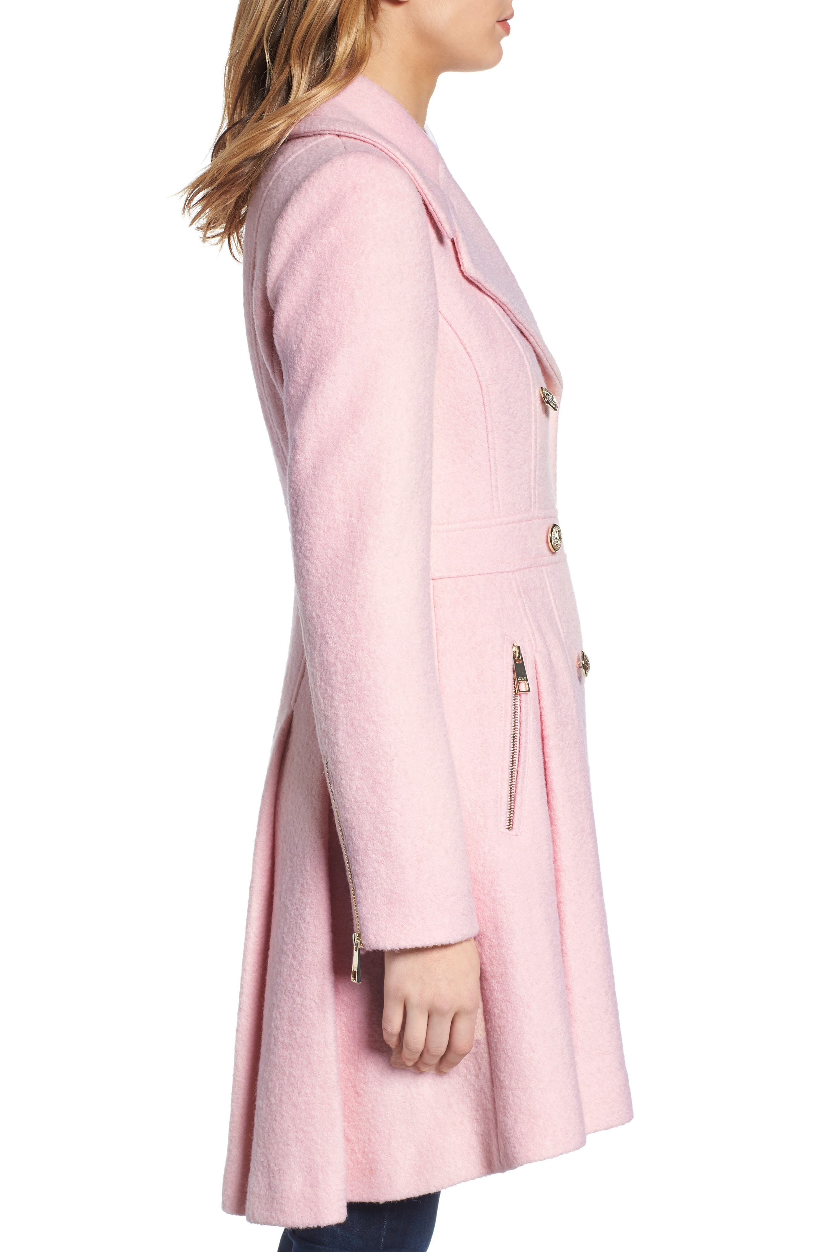 Double Breasted Wool Blend Coat,                             Alternate thumbnail 3, color,                             Pale Pink