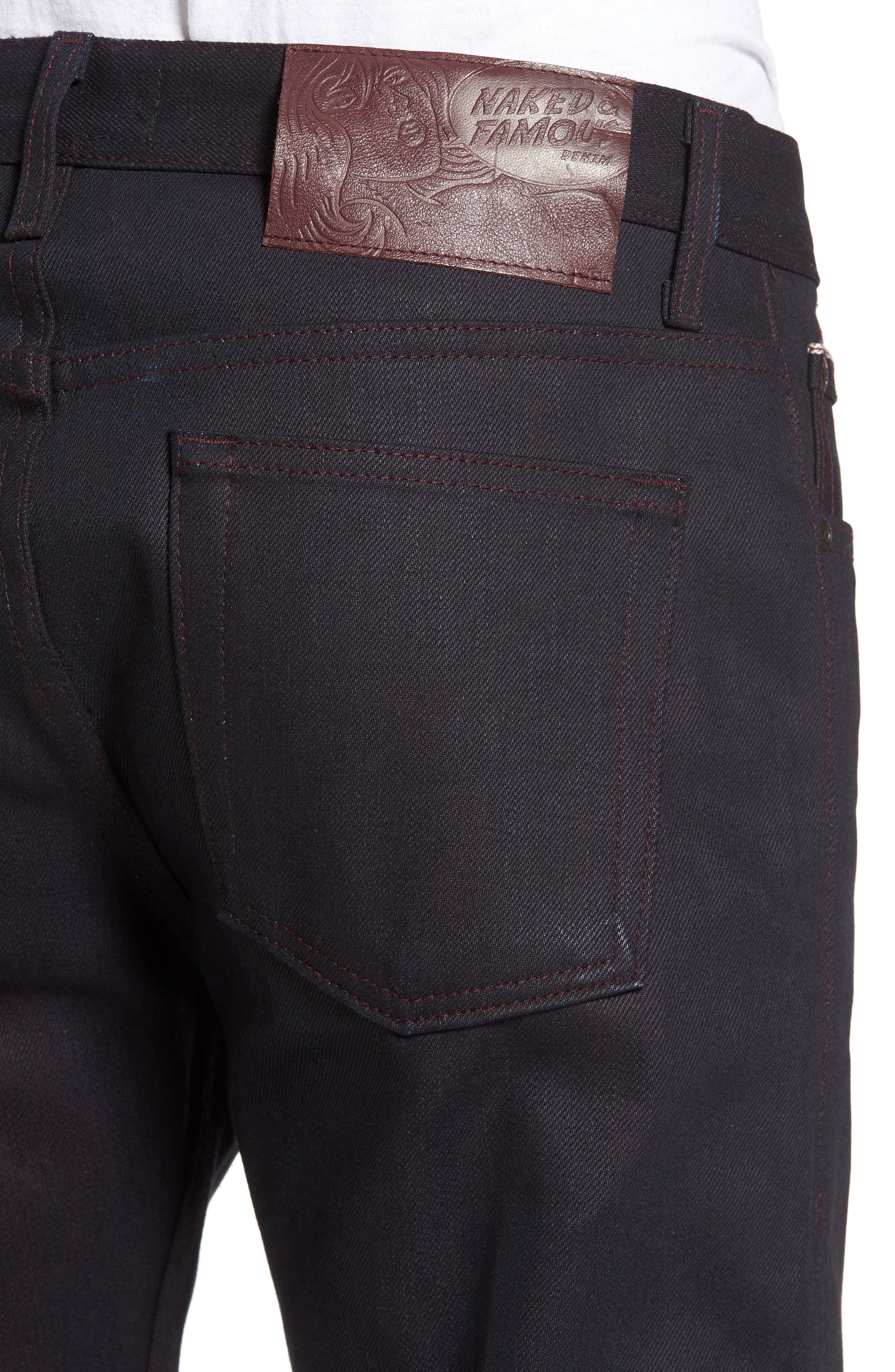 Alternate Image 4  - Naked and Famous Denim Weird Guy Slim Fit Dyed Selvedge Jeans (Wine)