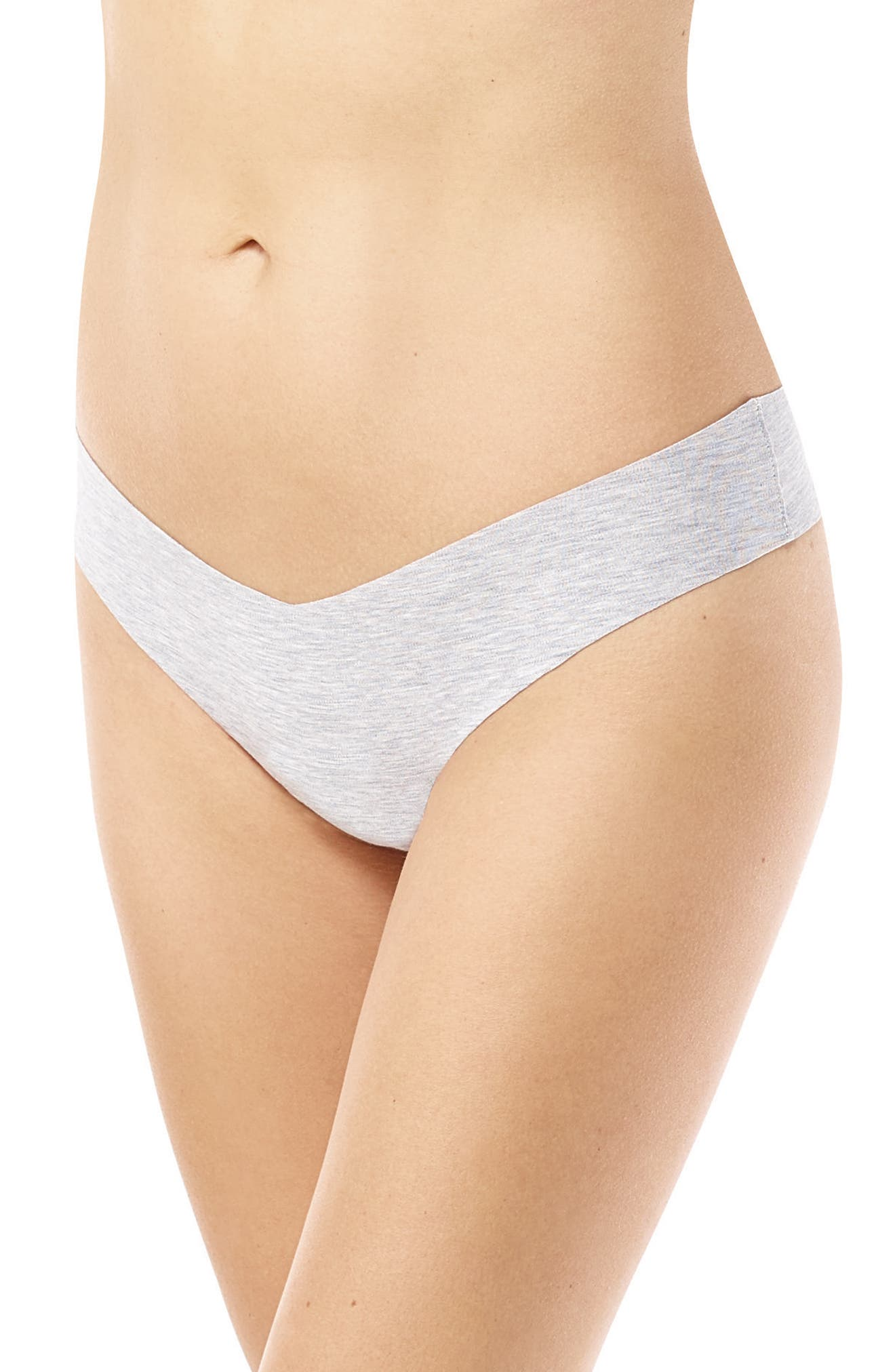 Heathered Cotton Blend Thong,                         Main,                         color, Gray Heather