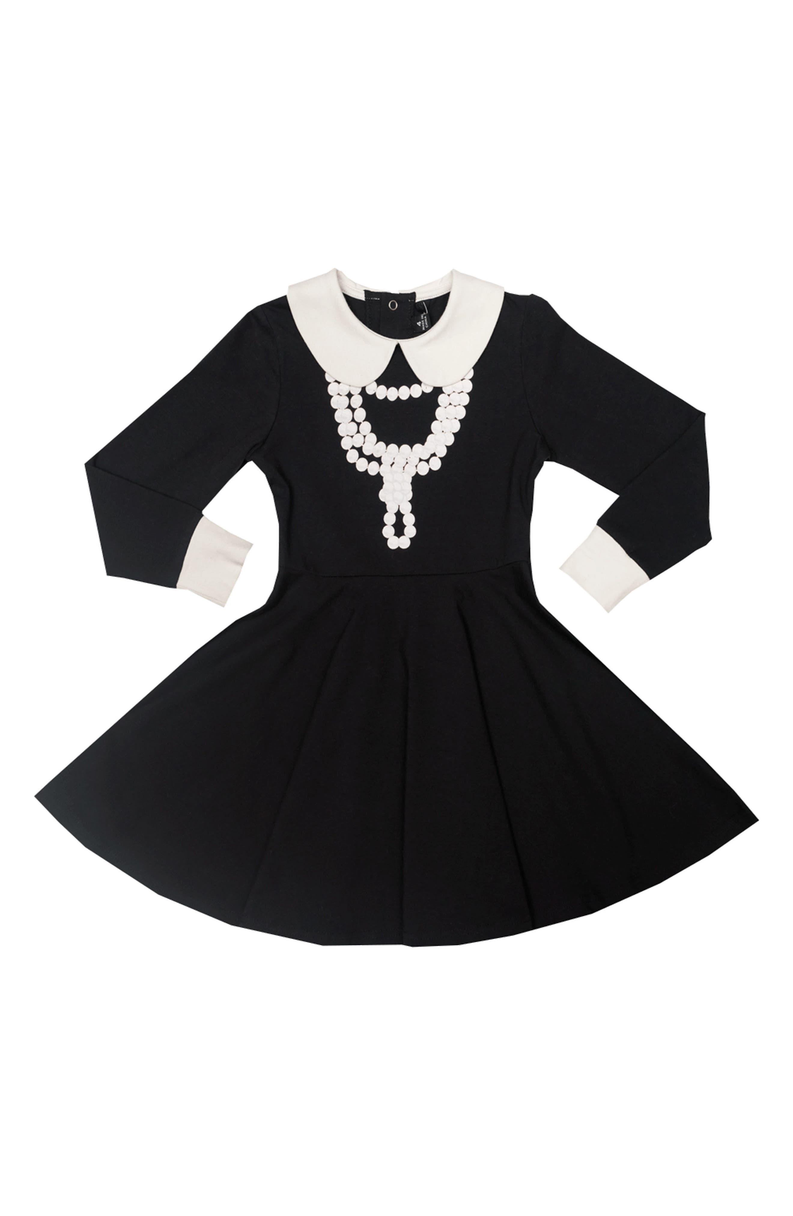 Coco Fit & Flare Dress,                             Alternate thumbnail 4, color,                             Black