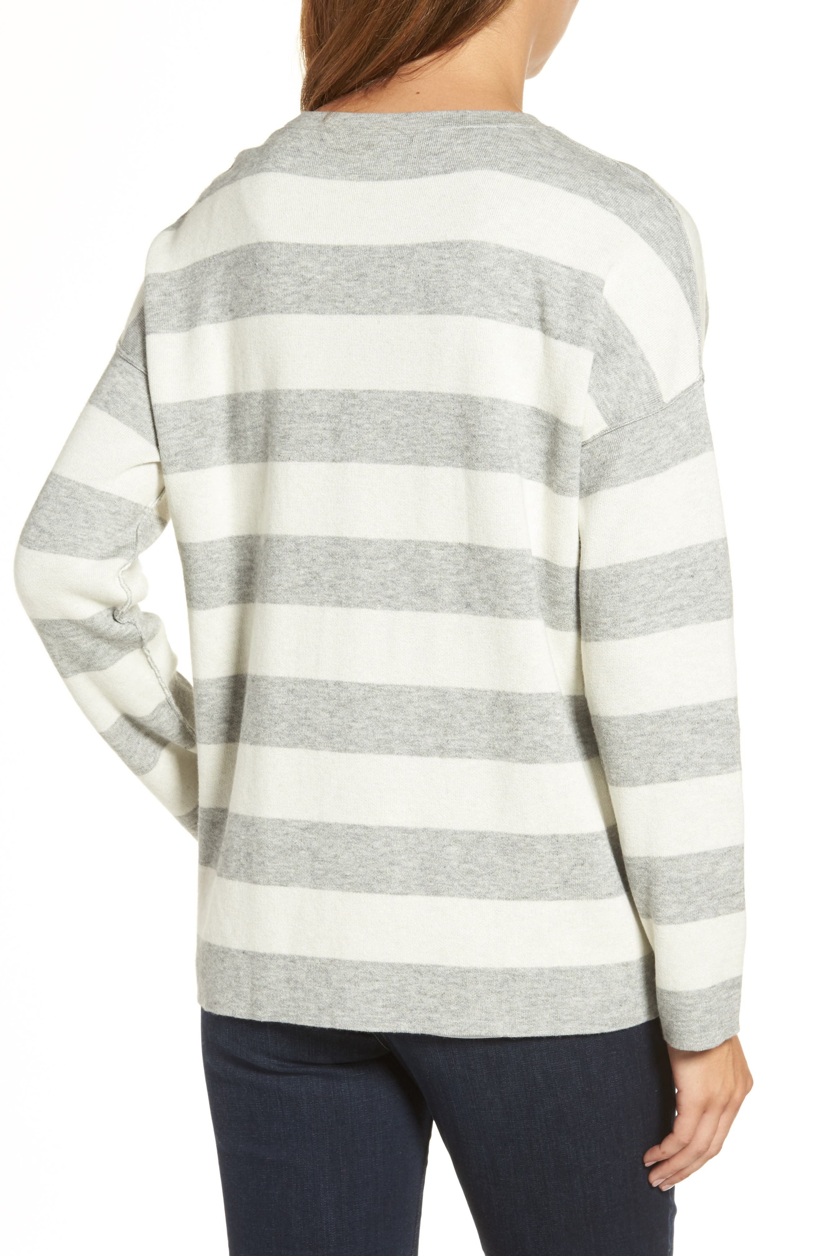 Stripe Organic Cotton Blend Top,                             Alternate thumbnail 2, color,                             Dark Pearl/ Soft White