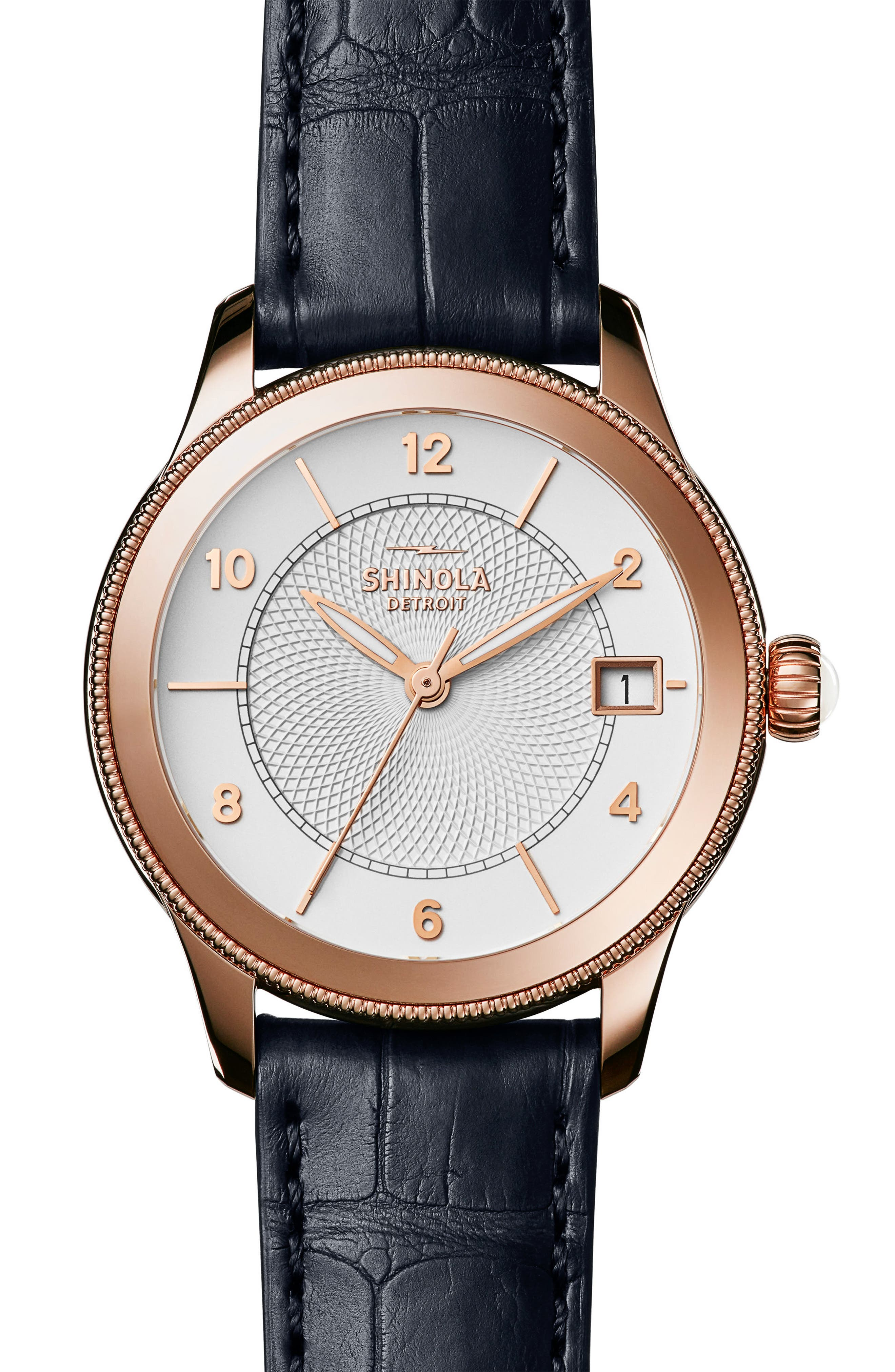 Gail Leather Strap Watch, 36mm,                             Main thumbnail 1, color,                             Navy/ Silver/ Rose Gold