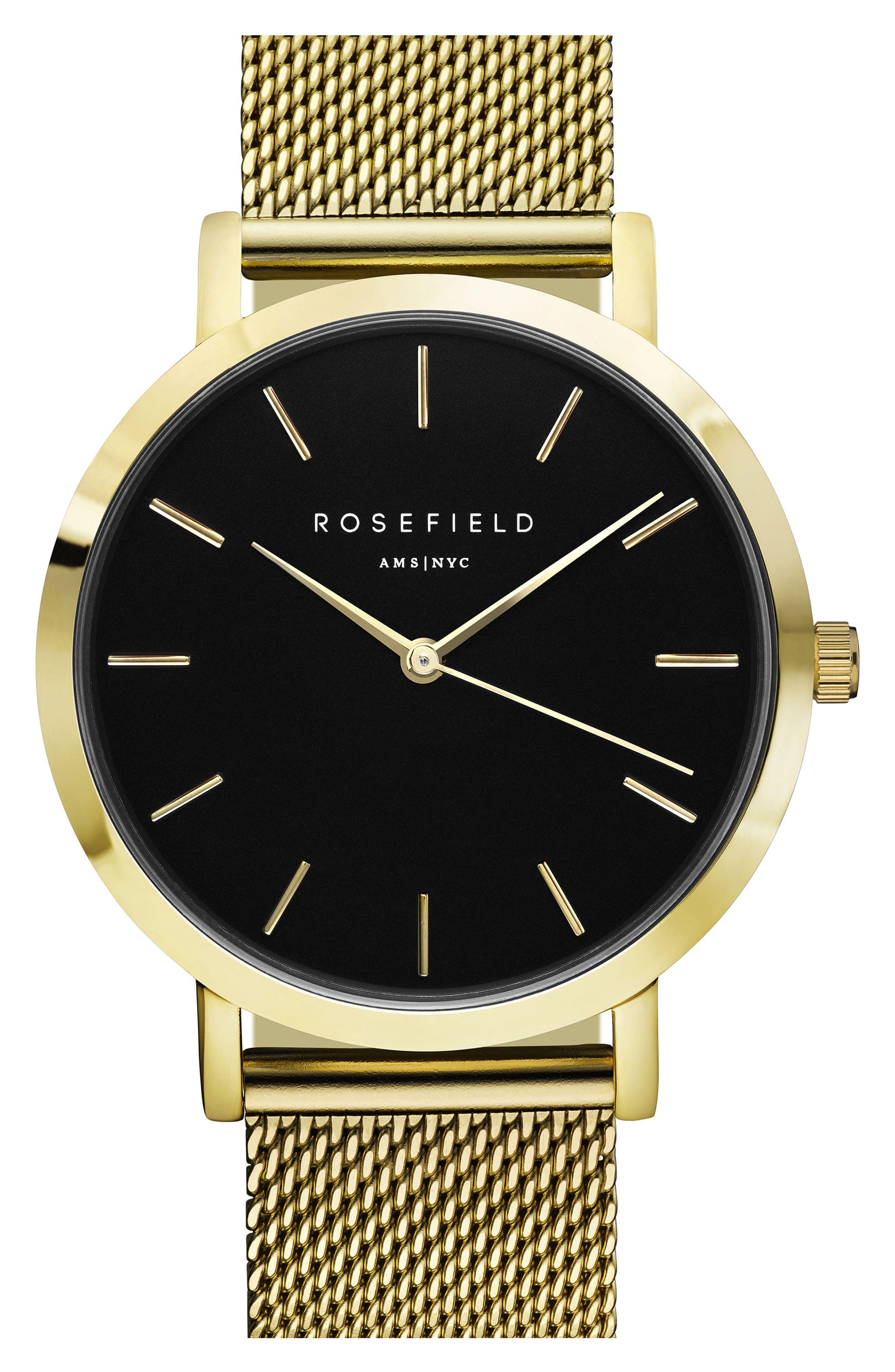ROSEFIELD Mercer Mesh Strap Watch, 38mm