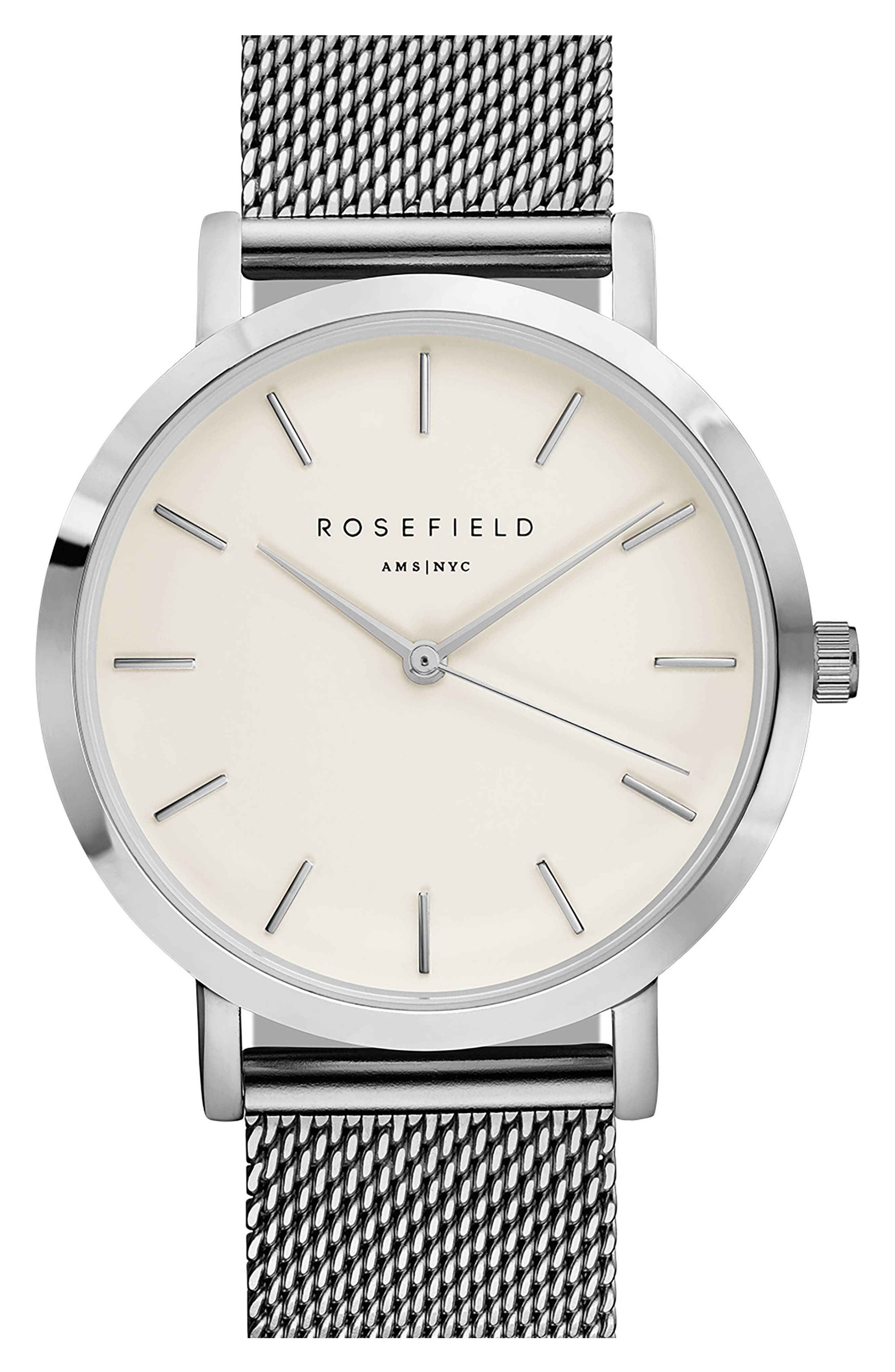 Main Image - Rosefield Mercer Mesh Strap Watch, 38mm
