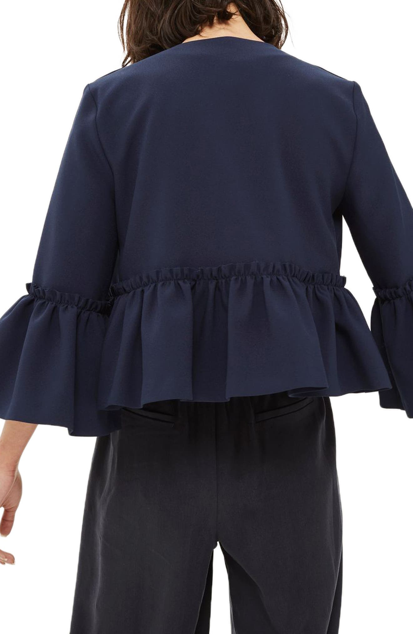 Alternate Image 2  - Topshop Raw Ruffle Crop Jacket