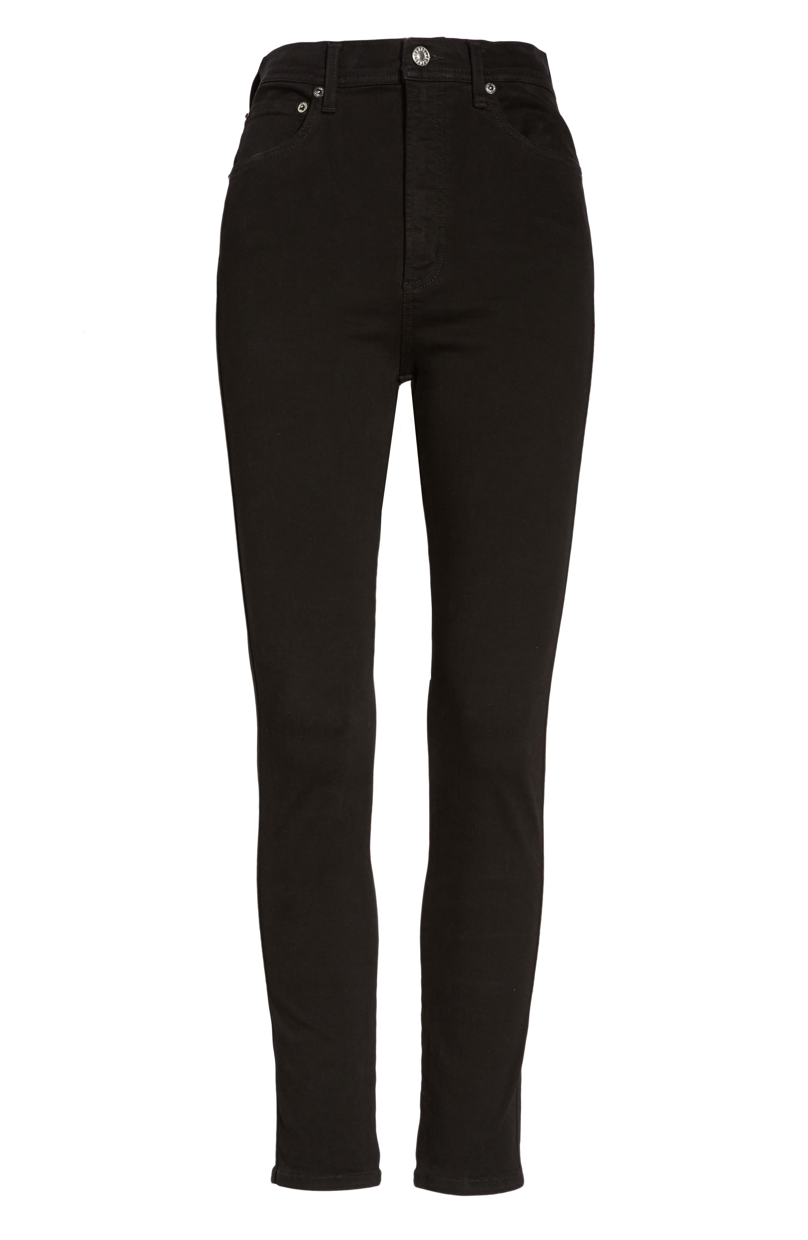 Roxanne Super High Rise Skinny Jeans,                             Alternate thumbnail 7, color,                             Jet