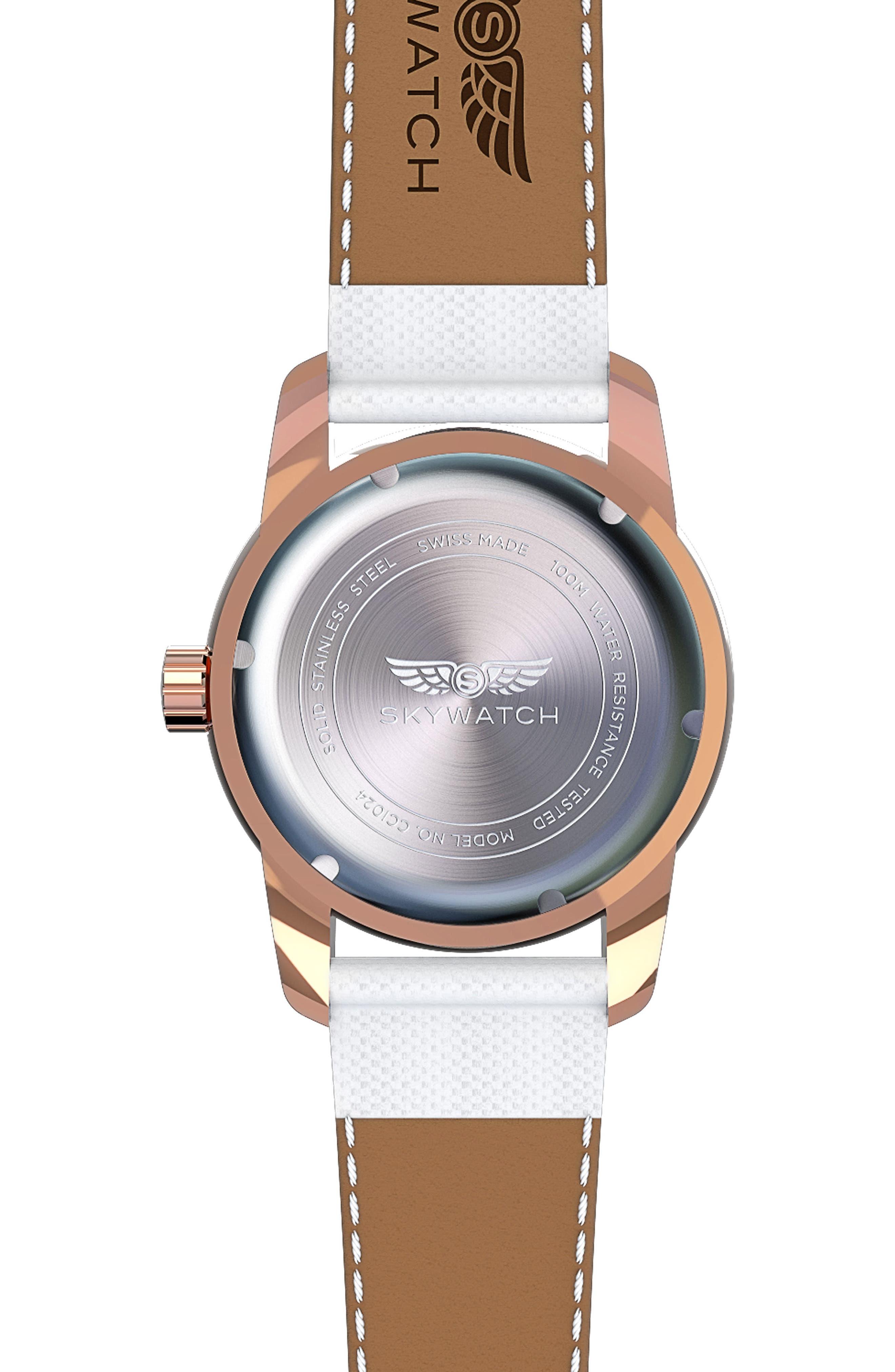 Alternate Image 2  - SKYWATCH Classic Woven Strap Watch, 44mm