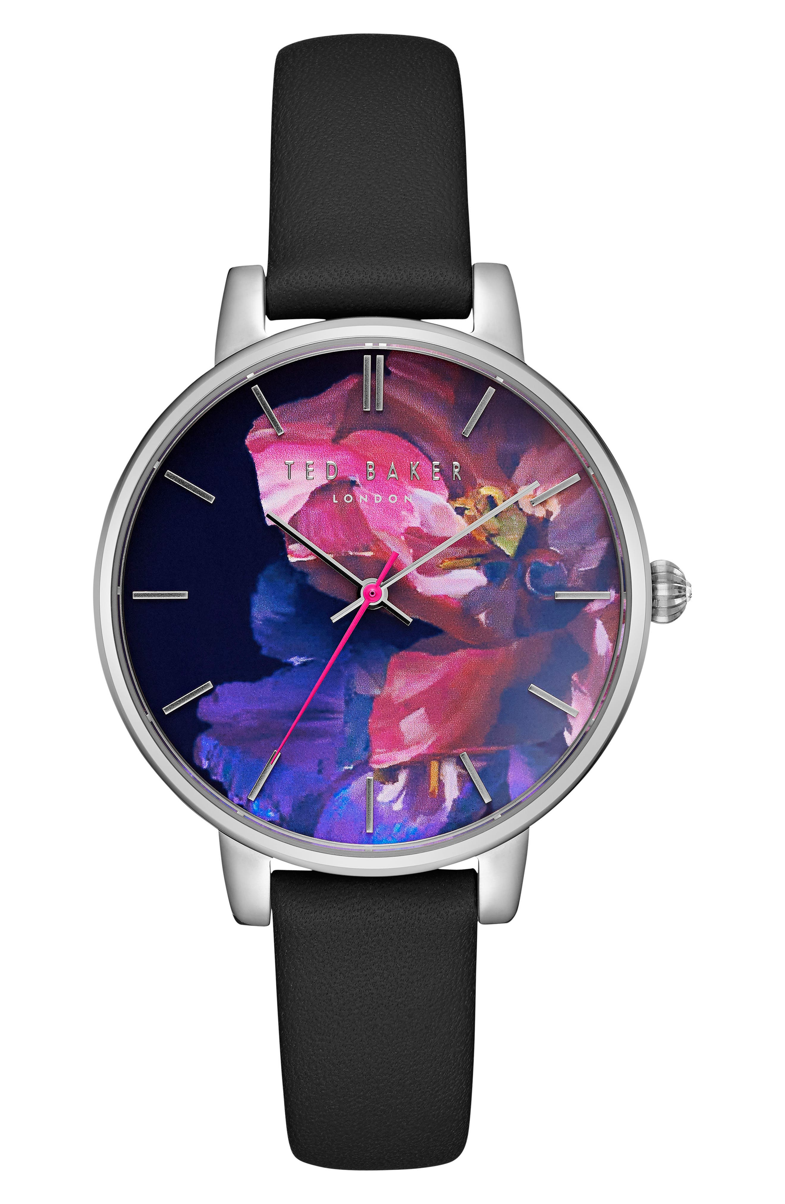 Kate Leather Strap Watch, 38mm,                         Main,                         color, Black/ Floral/ Silver