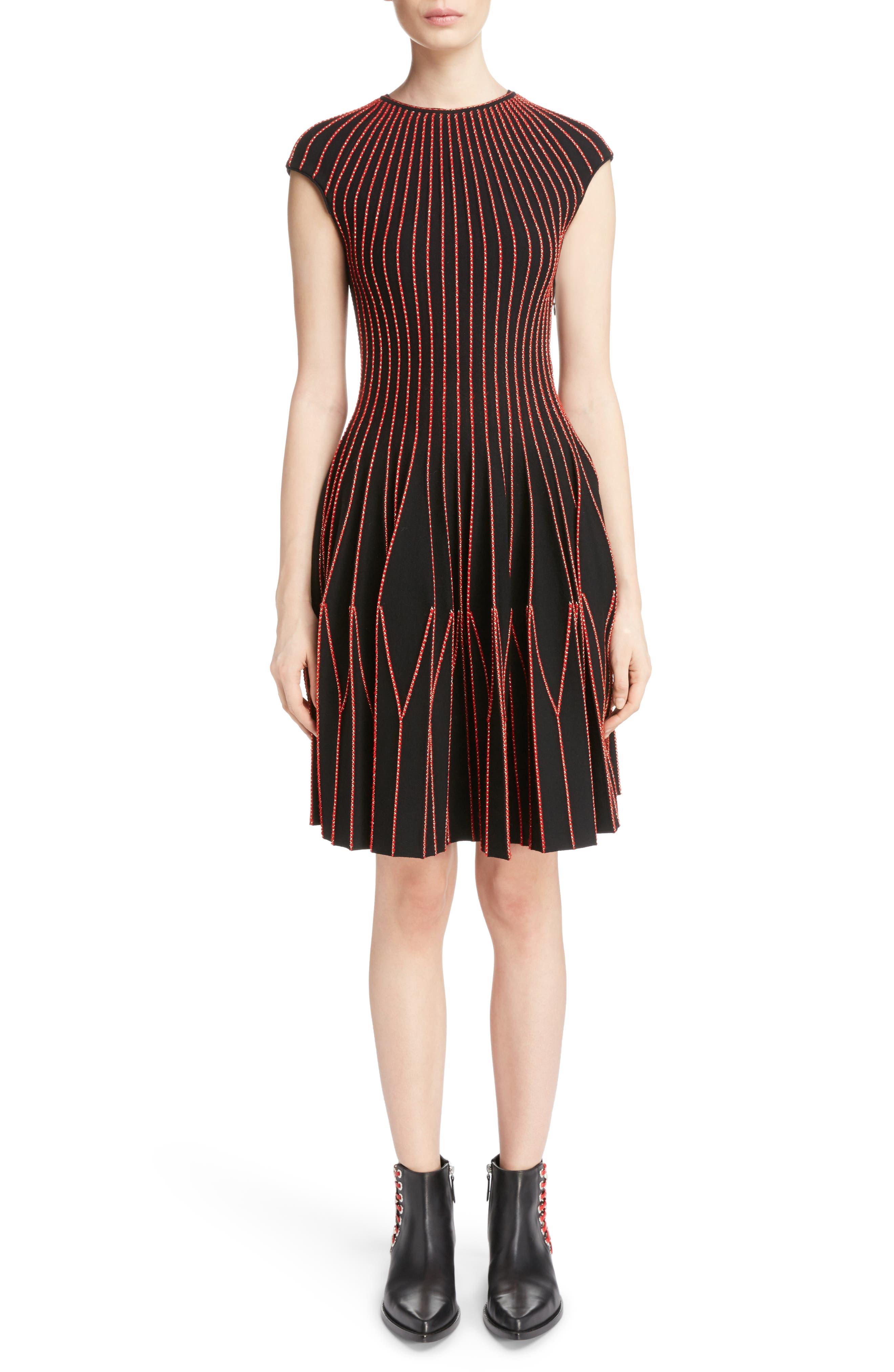Metallic Wool Blend Pleat Dress,                         Main,                         color, Black/ Red/ Gold