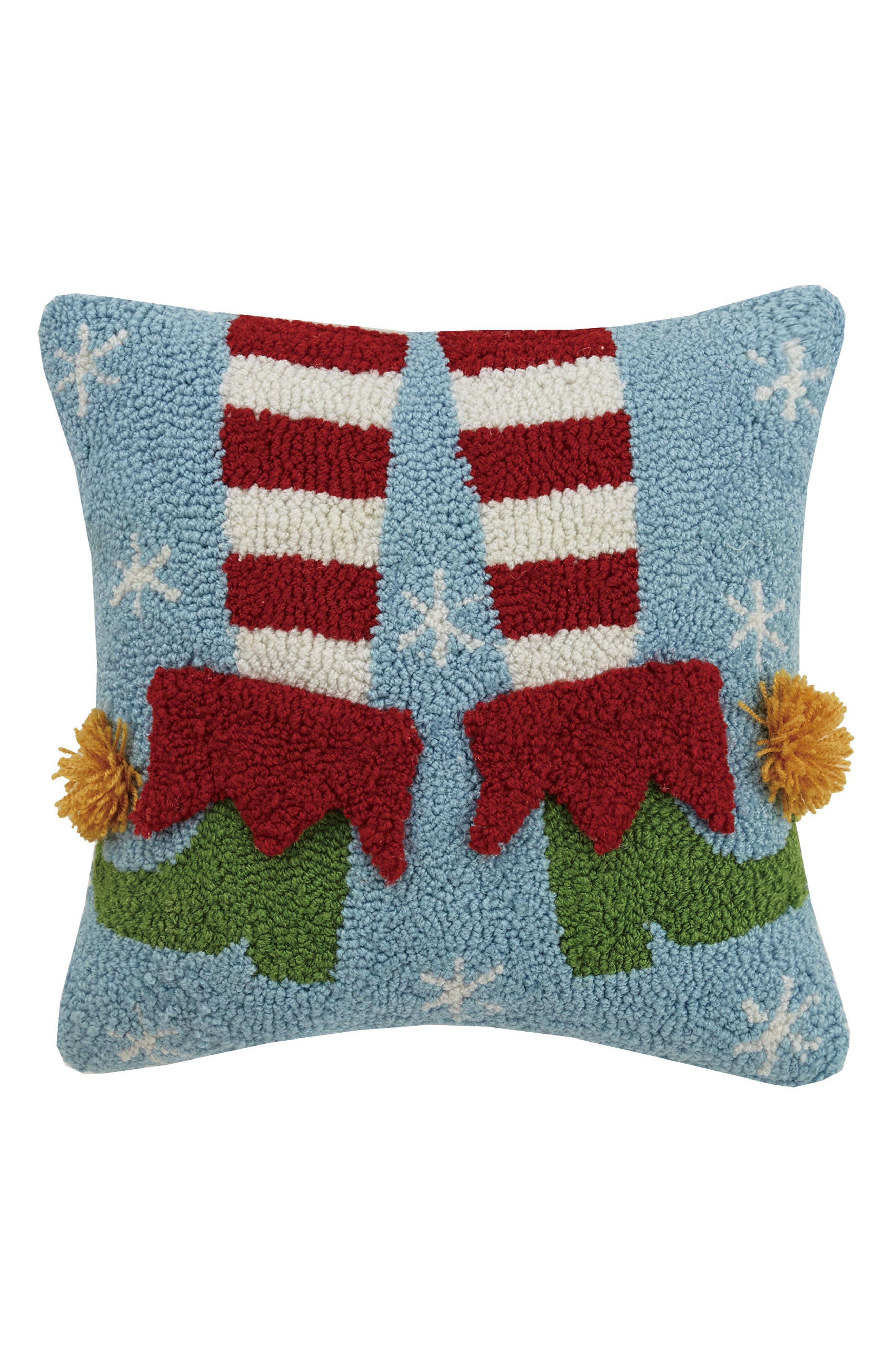 Elf Legs Hooked Accent Pillow,                         Main,                         color, Blue