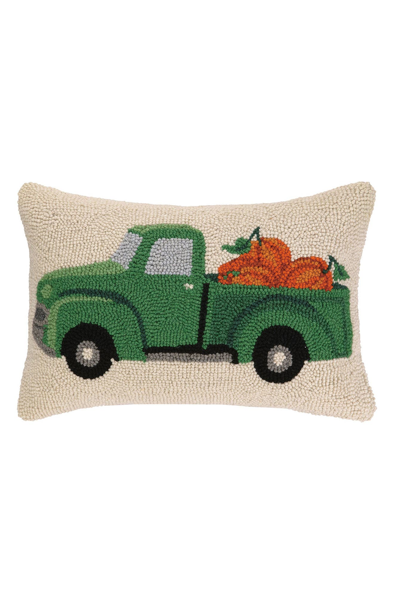Fall Truck Accent Pillow,                             Main thumbnail 1, color,                             Green