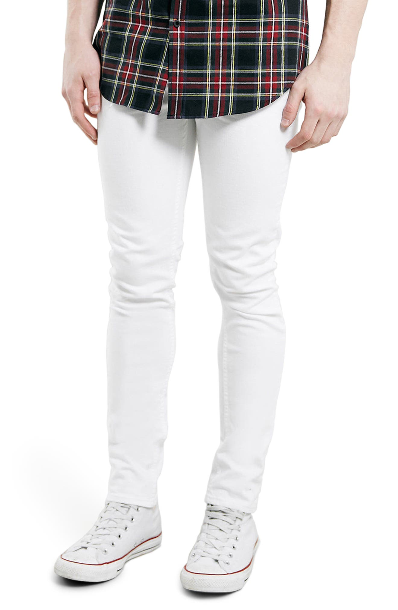 Stretch Skinny Fit Jeans,                             Main thumbnail 1, color,                             White