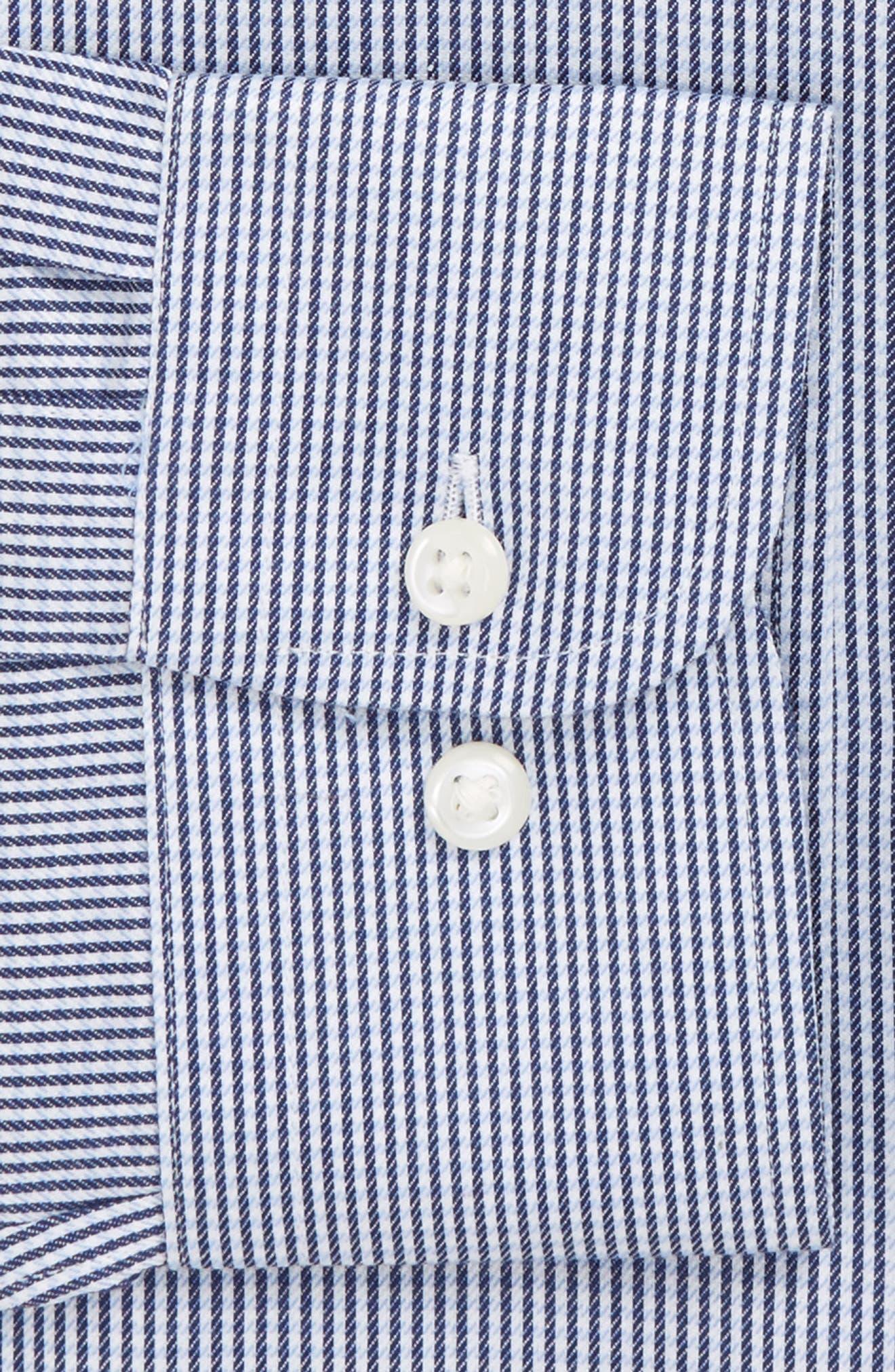Smartcare<sup>™</sup> Trim Fit Stripe Dress Shirt,                             Alternate thumbnail 4, color,                             Blue Bisou