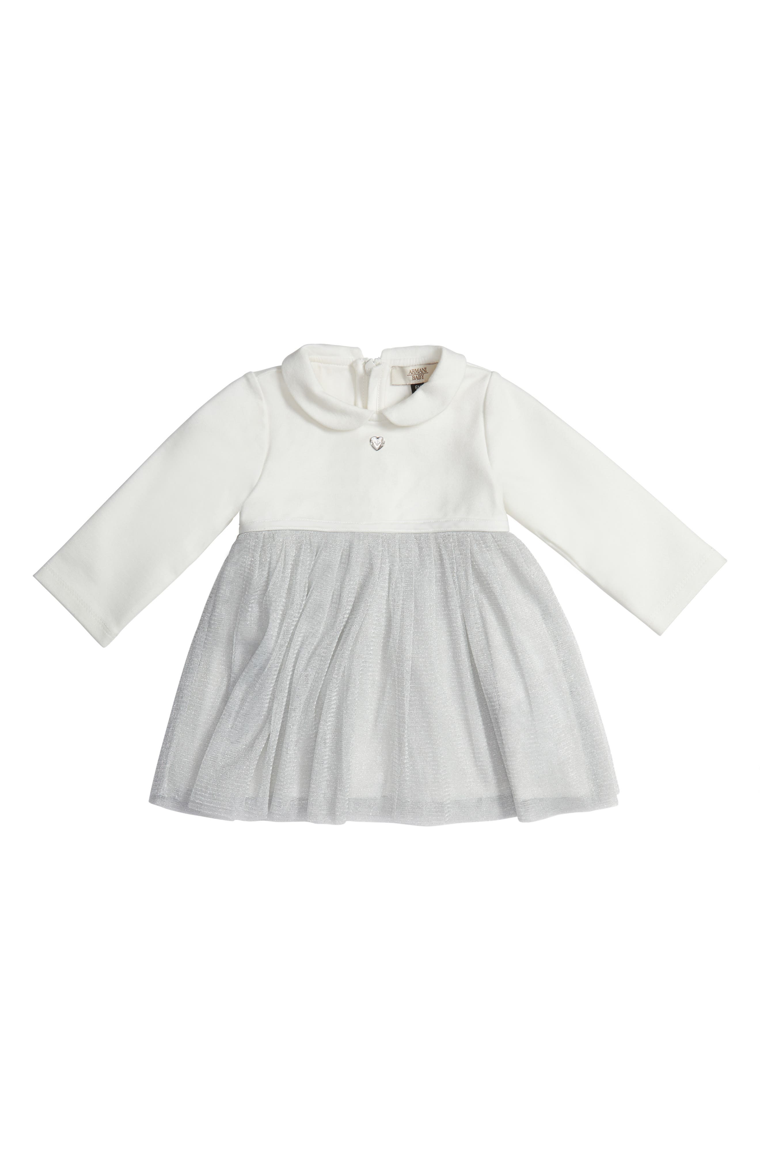 Main Image - Armani Junior Jersey & Tulle Dress (Baby Girls)