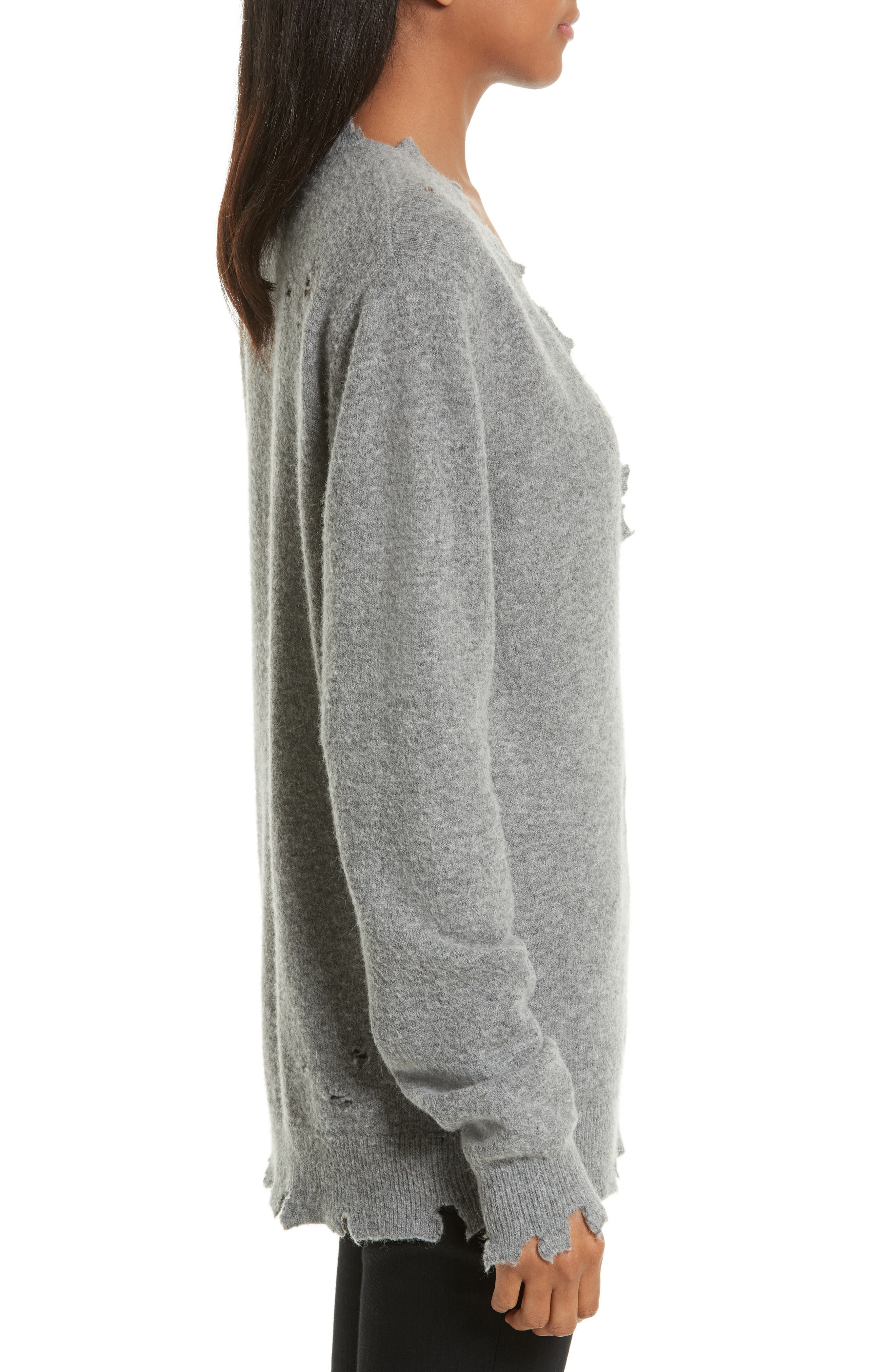Brody Distressed Sweater,                             Alternate thumbnail 3, color,                             Grey