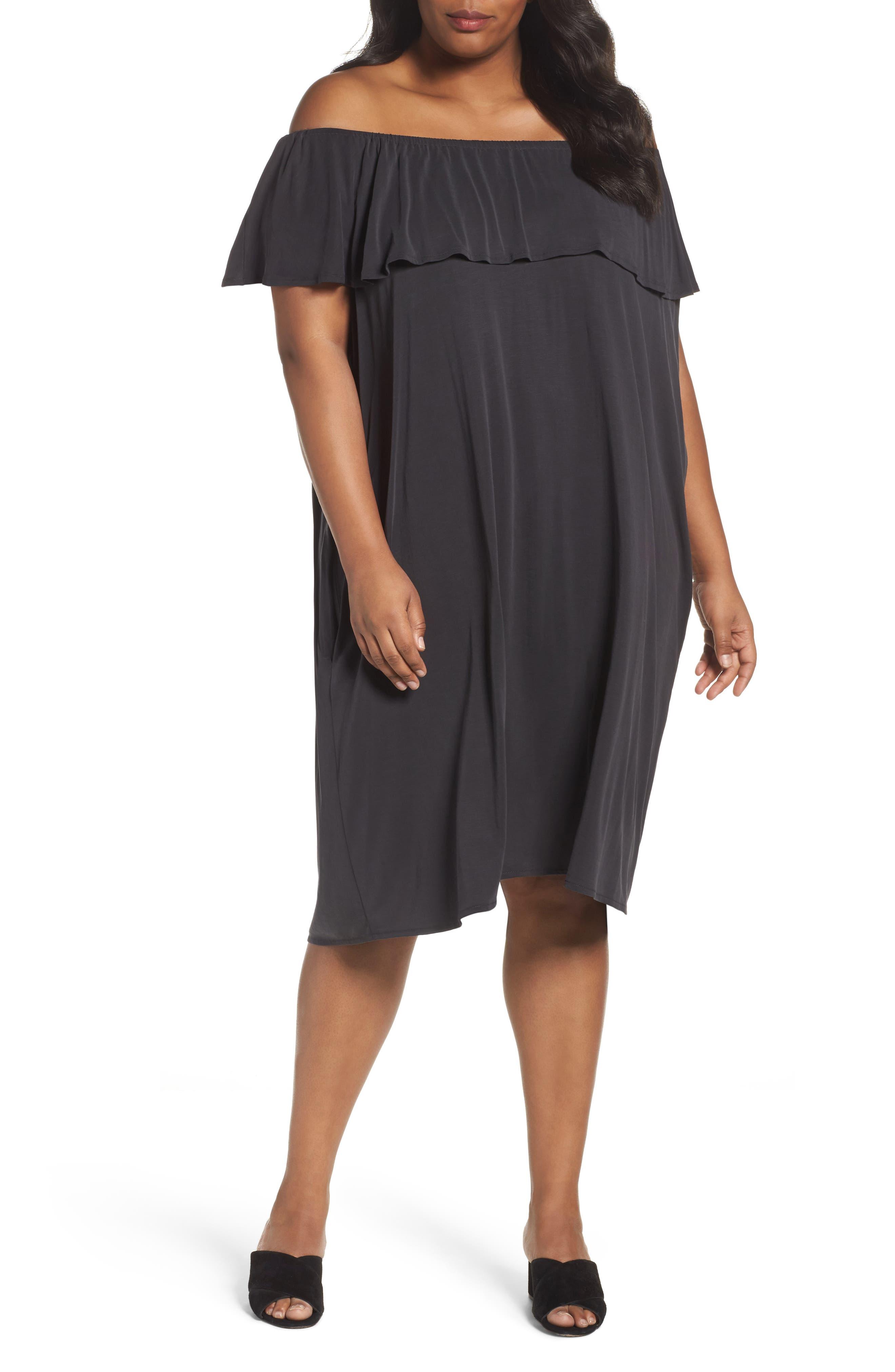 Boardwalk Convertible Jersey Dress,                             Main thumbnail 1, color,                             Washed Black