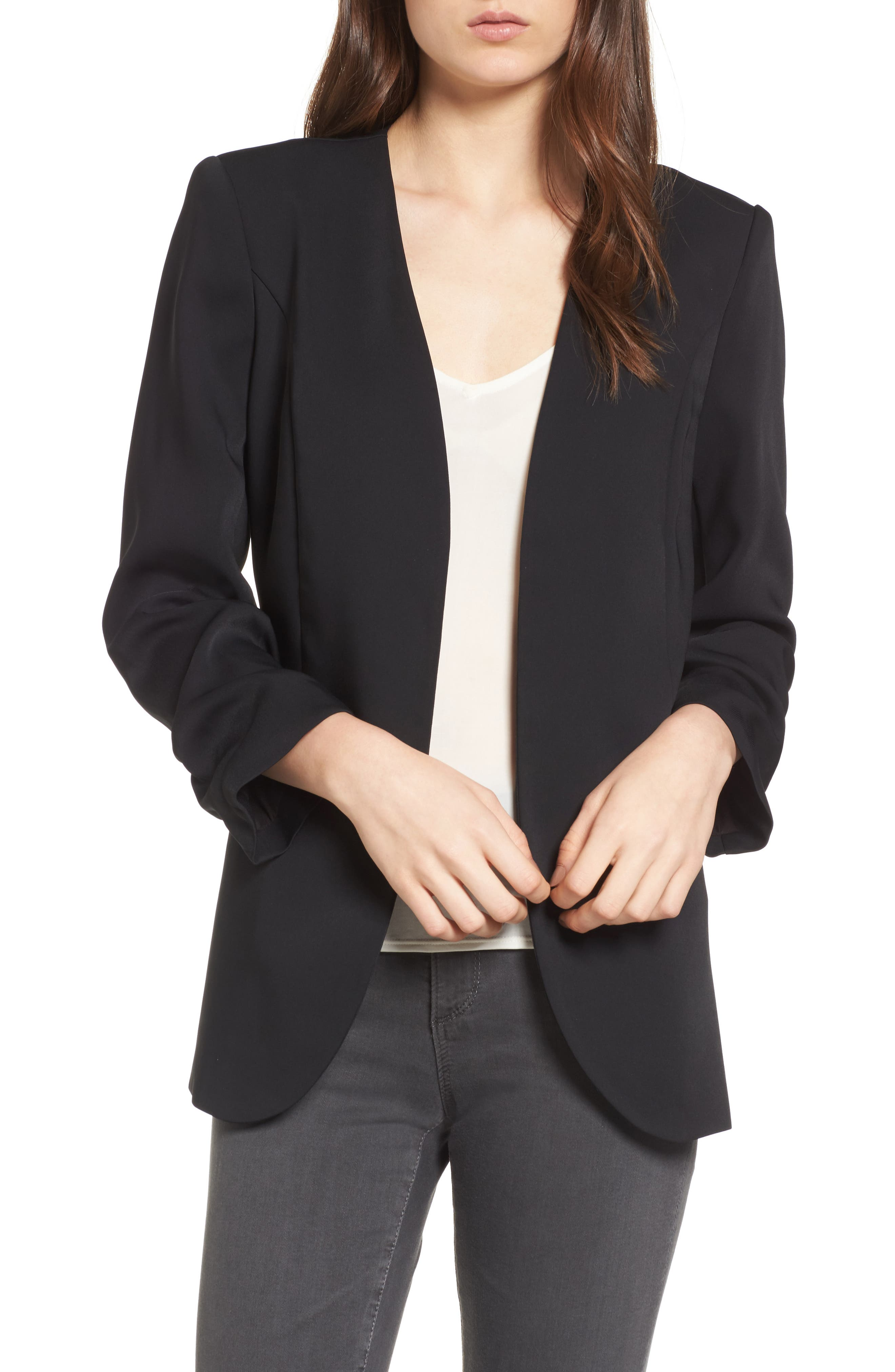 Ruched Sleeve Blazer,                         Main,                         color, Black