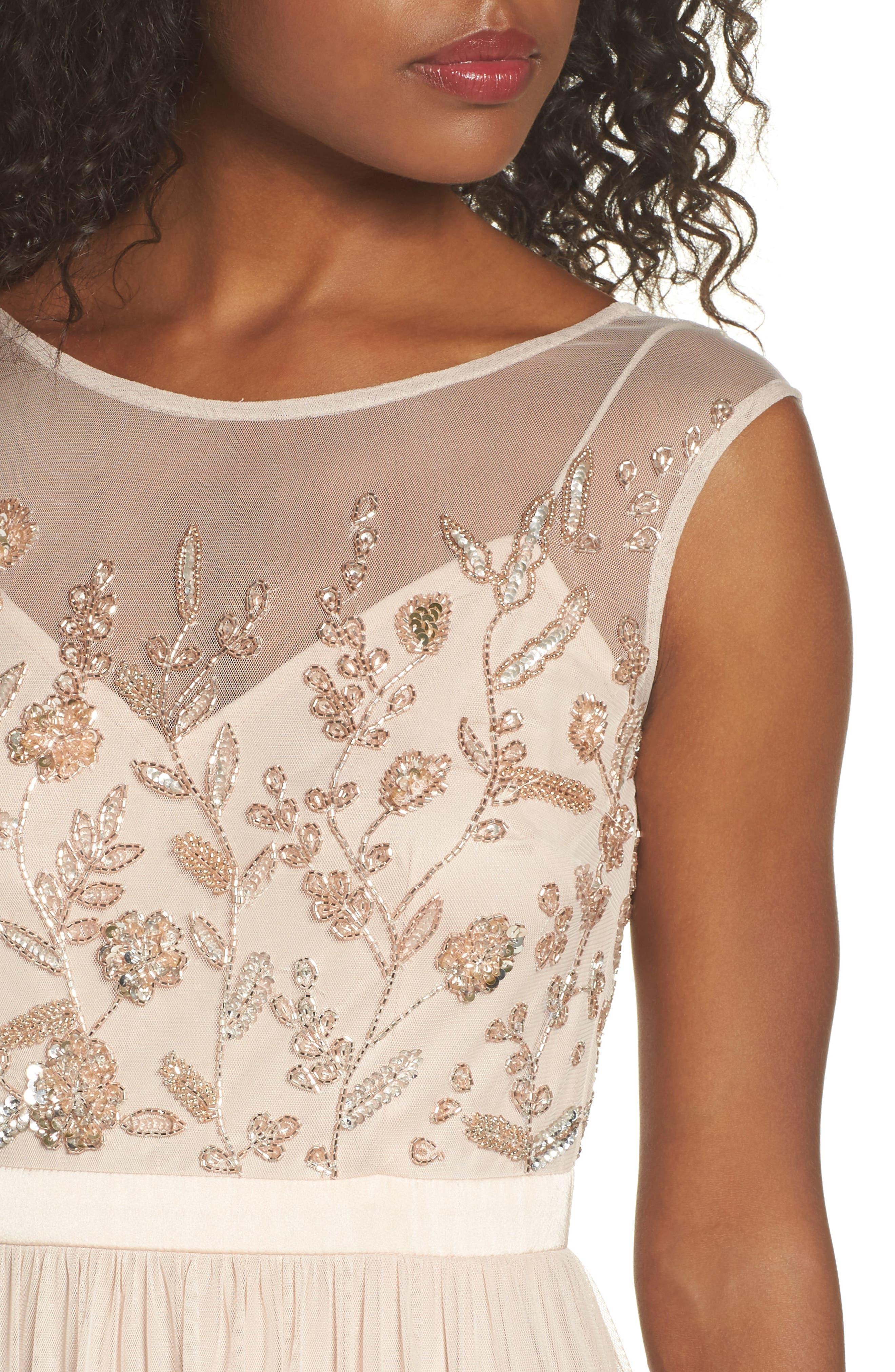 Alternate Image 4  - Adrianna Papell Beaded Mesh Gown (Regular & Petite)
