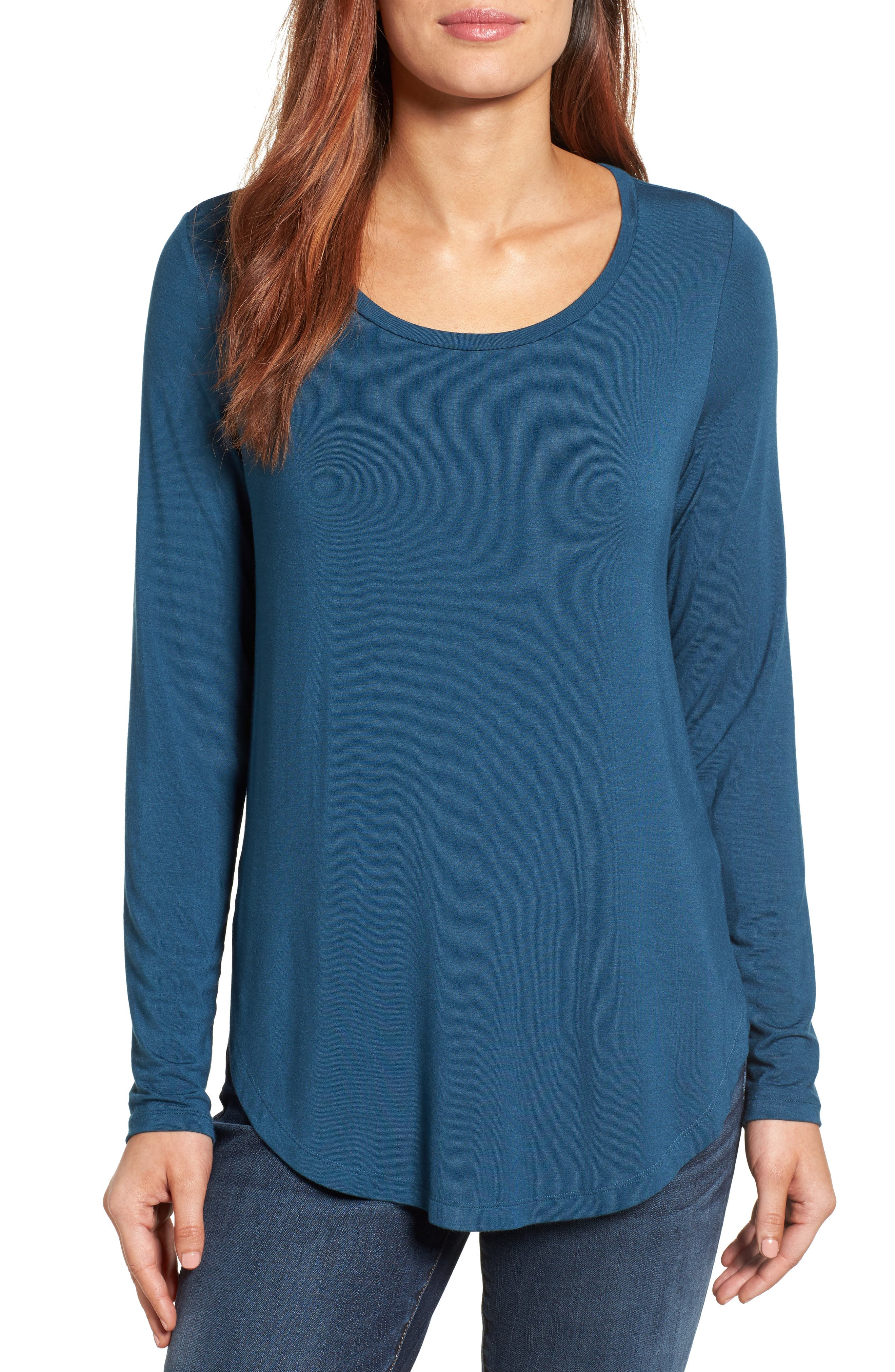 Main Image - Halogen® Long Sleeve Knit Tunic (Regular & Petite)