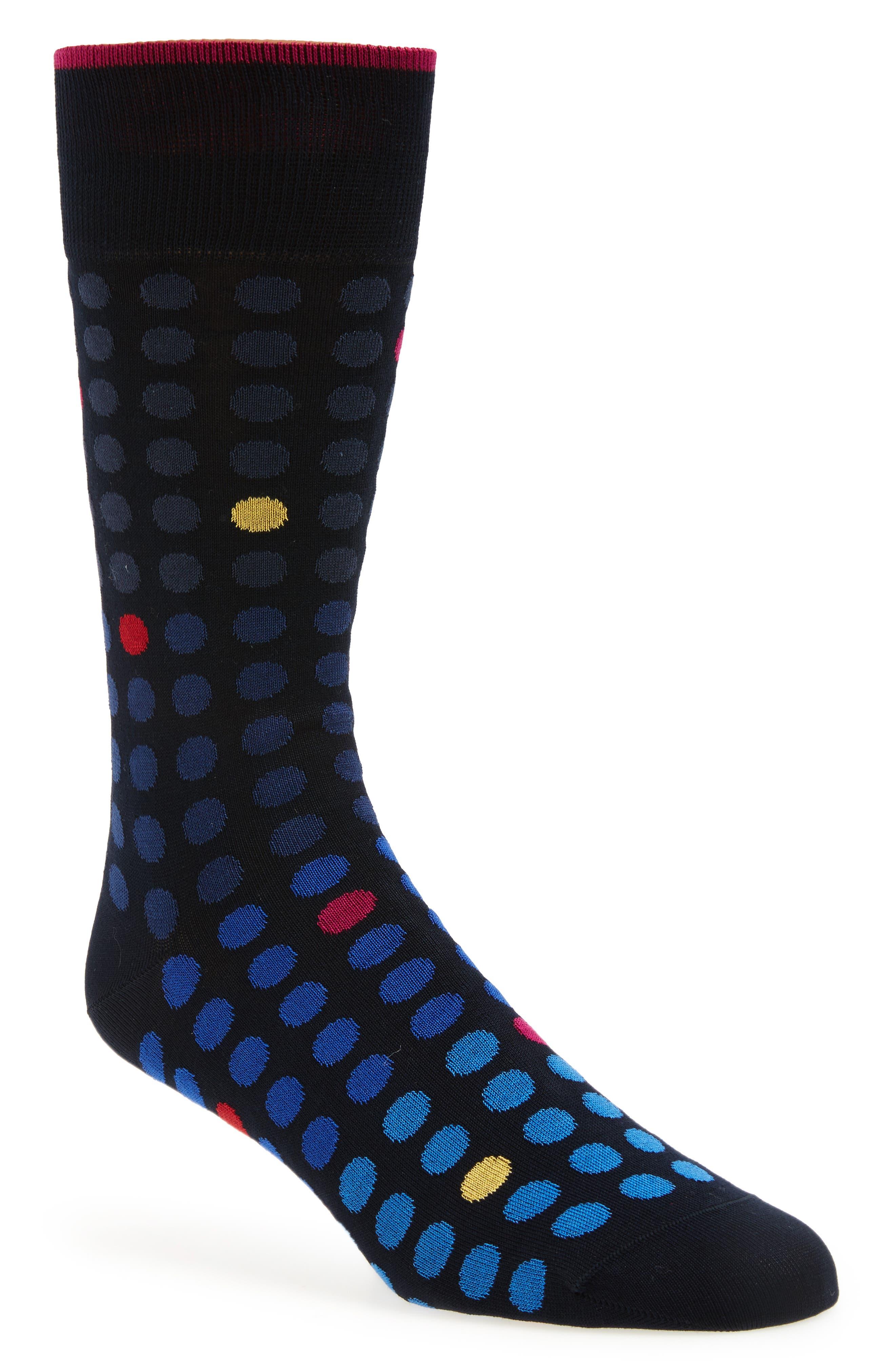 Dot Crew Socks,                         Main,                         color, Midnight