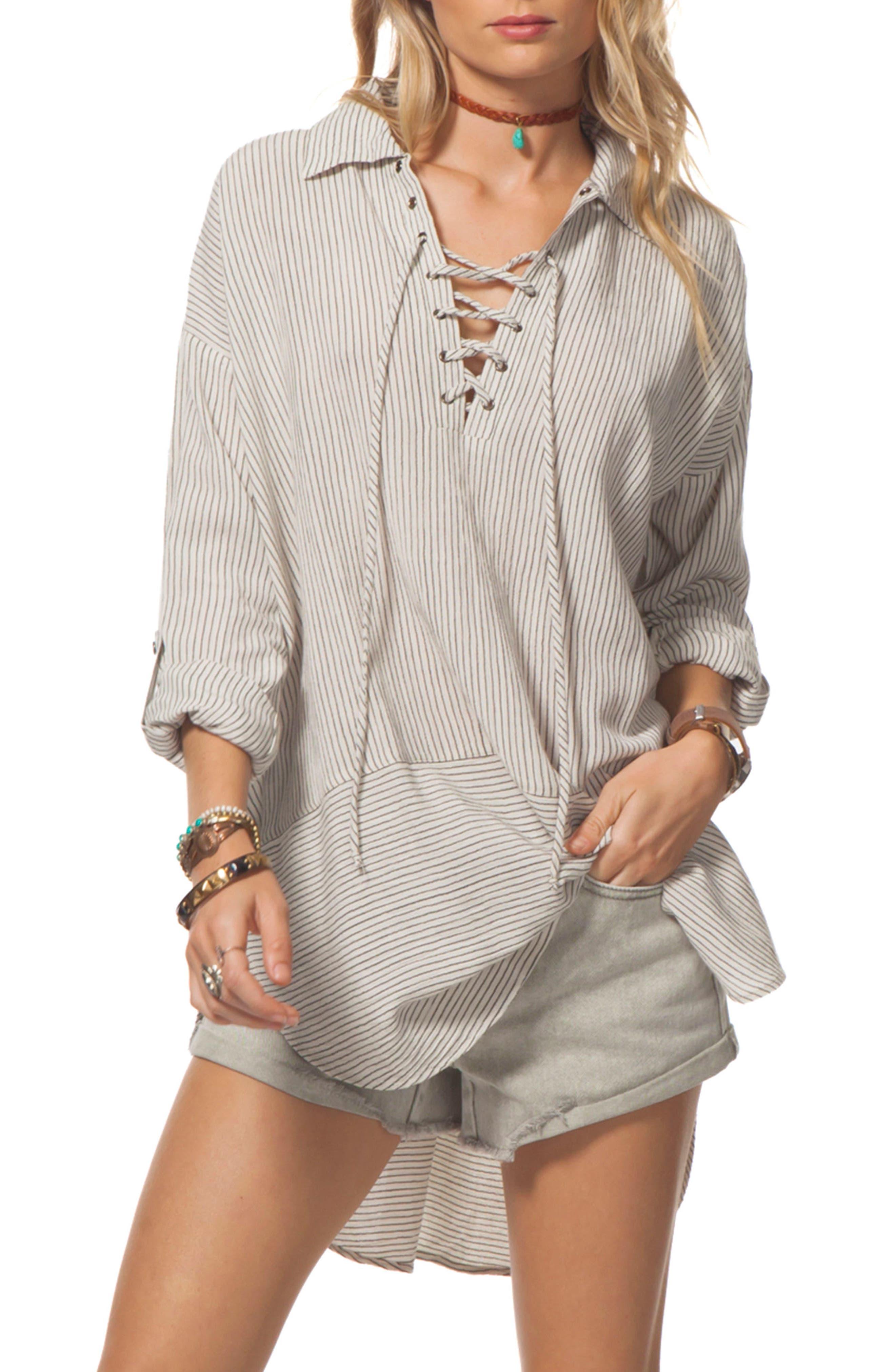 Sandbar Lace-Up Tunic,                         Main,                         color, Vanilla
