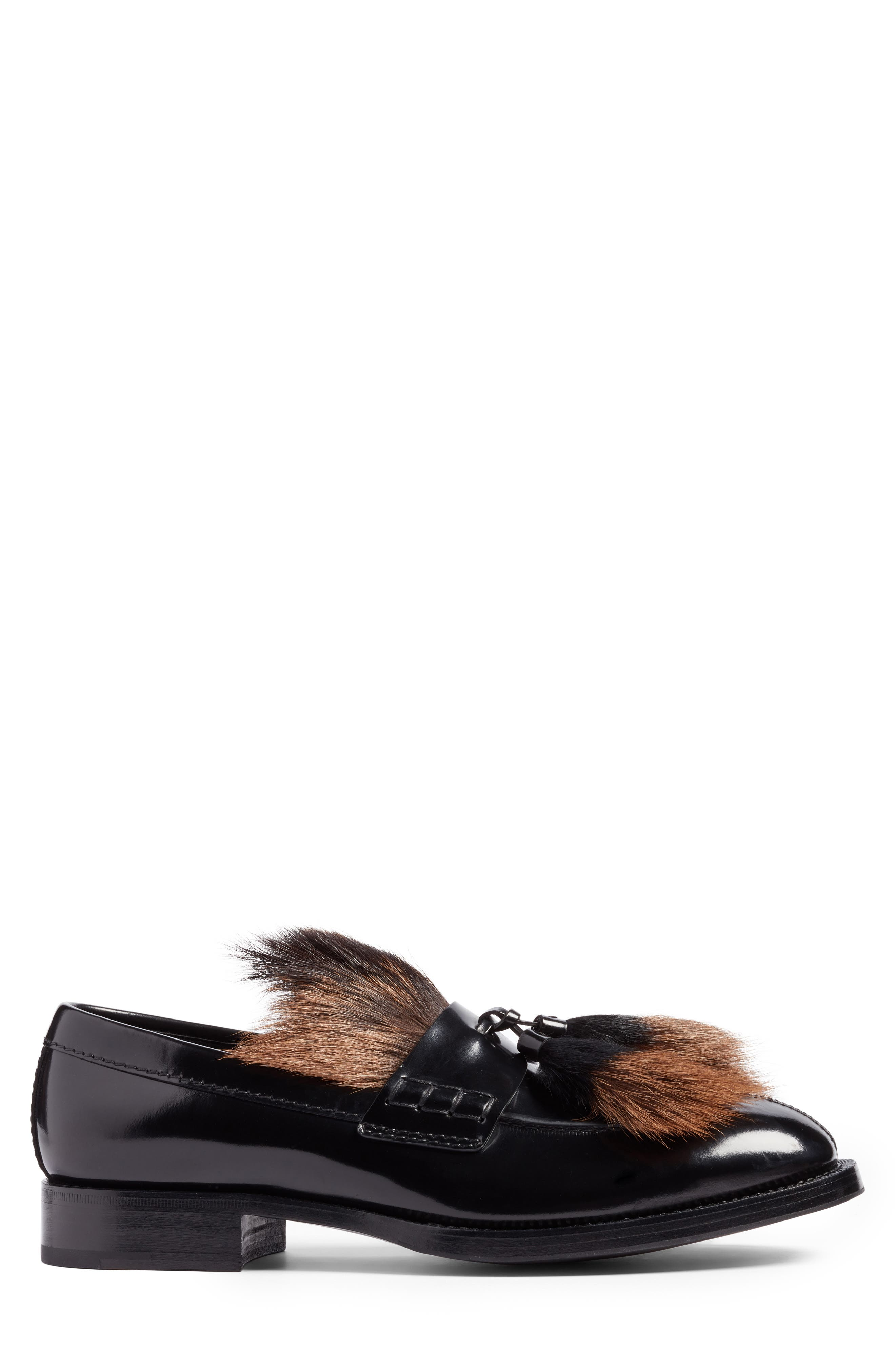 Tassel Loafer with Genuine Goat Hair Trim,                             Alternate thumbnail 3, color,                             Nero Leather