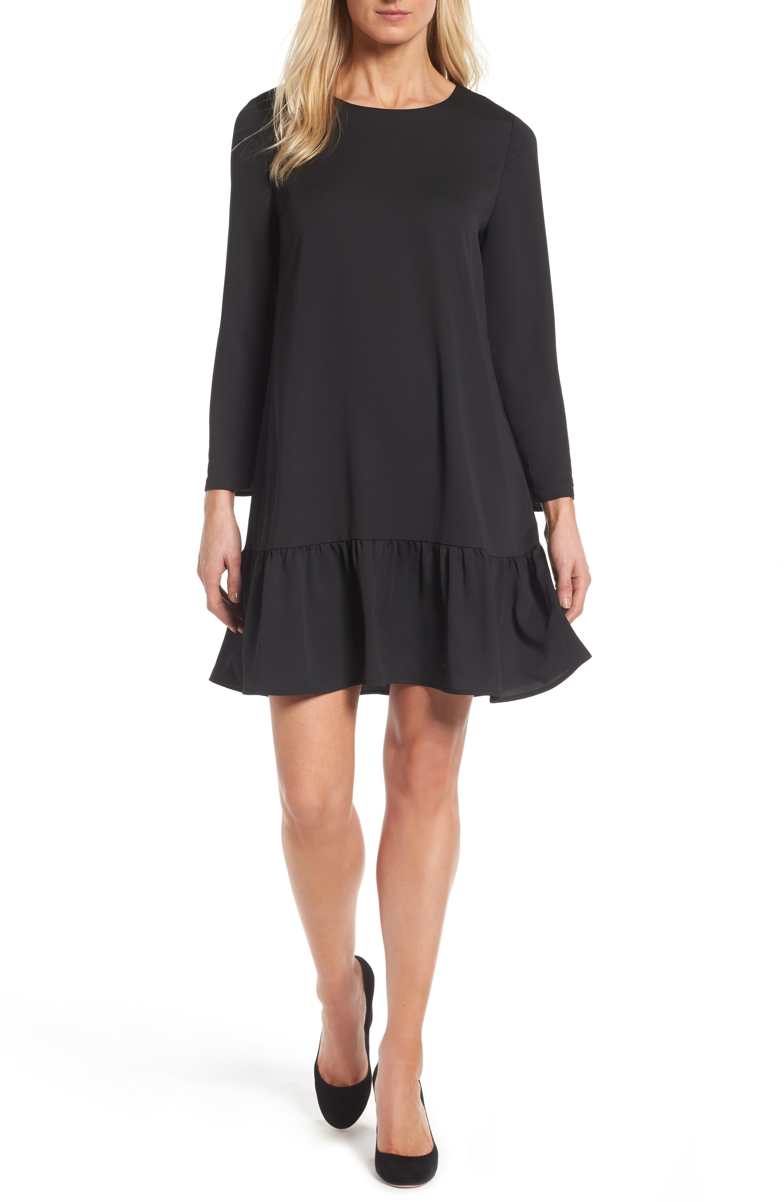Halogen® Button Back Ruffle Hem Dress (Regular & Petite)