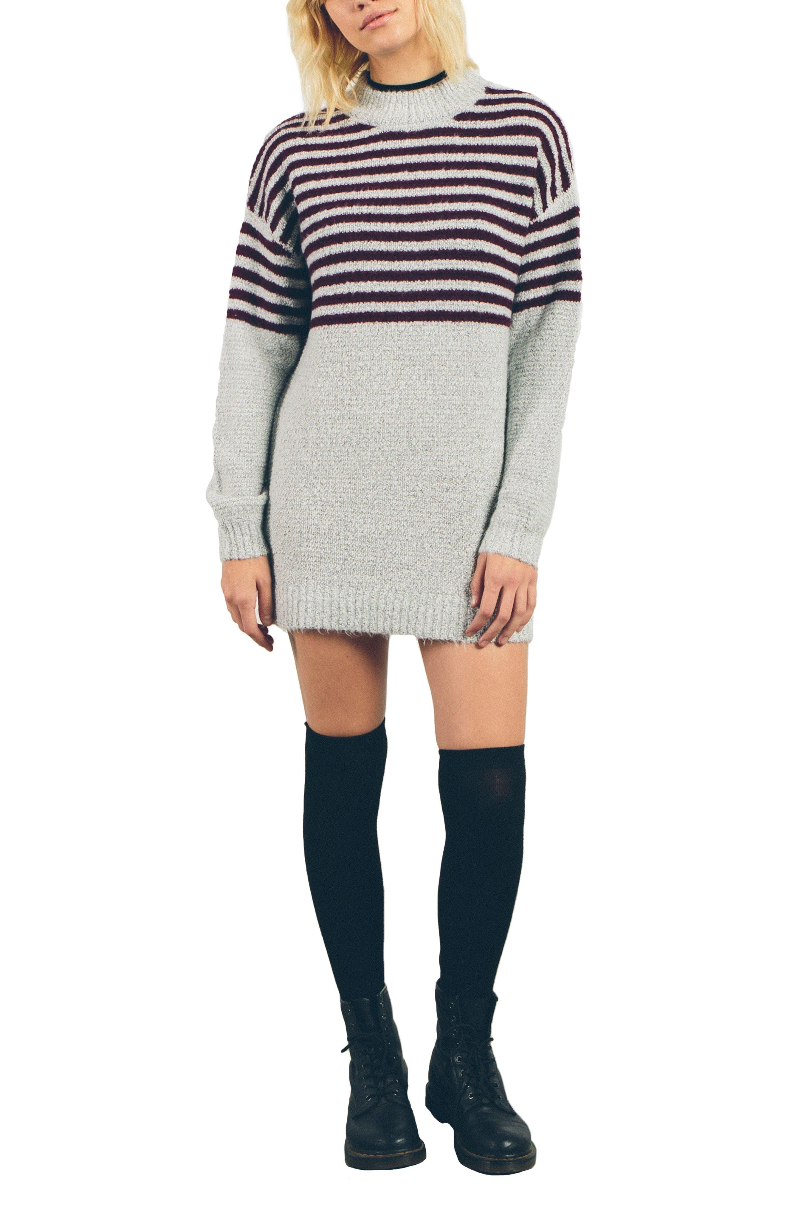 Cold Daze Knit Dress,                             Main thumbnail 1, color,                             Heather Grey