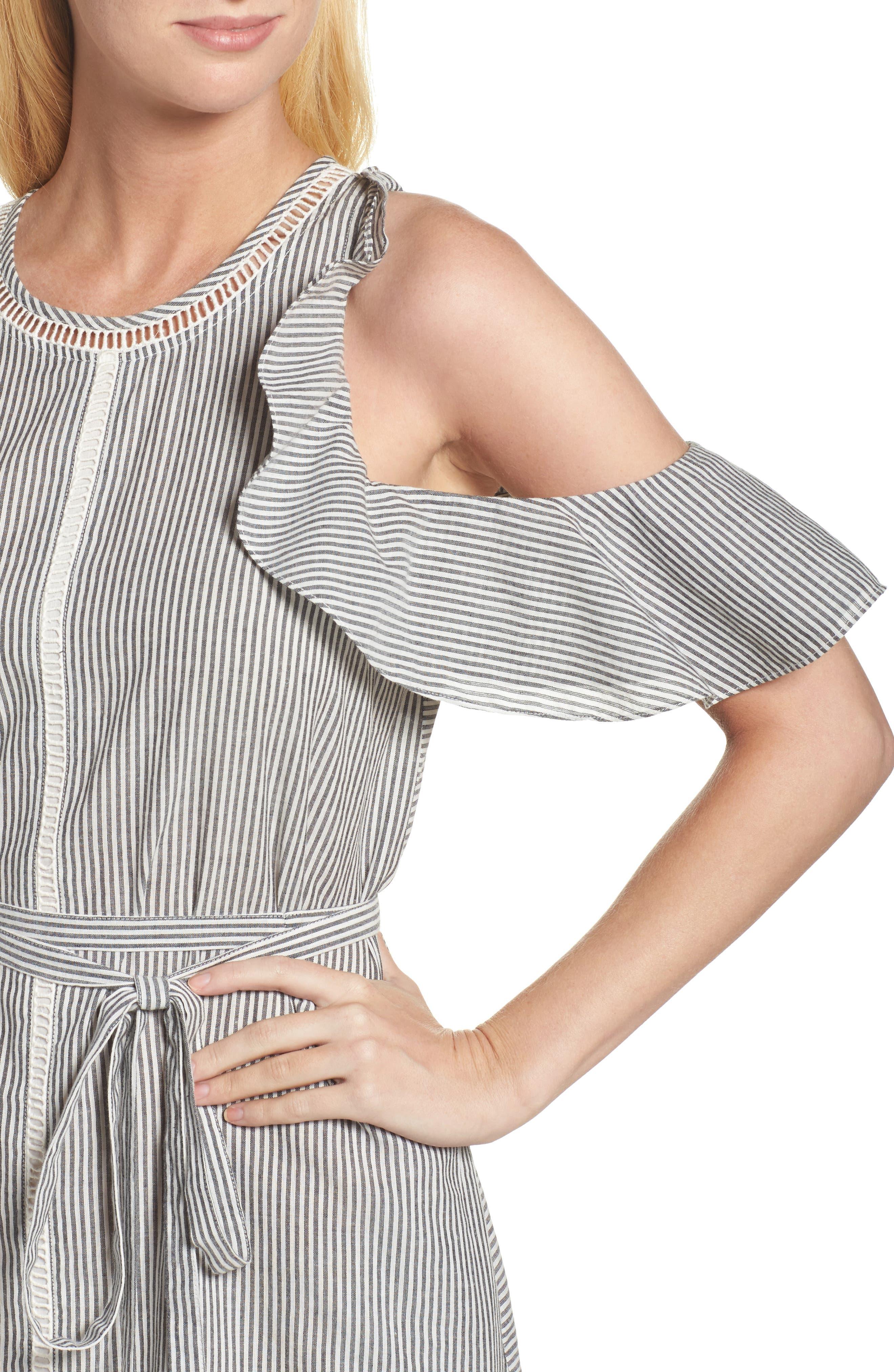 Clea Cold Shoulder Dress,                             Alternate thumbnail 4, color,                             Black/ White