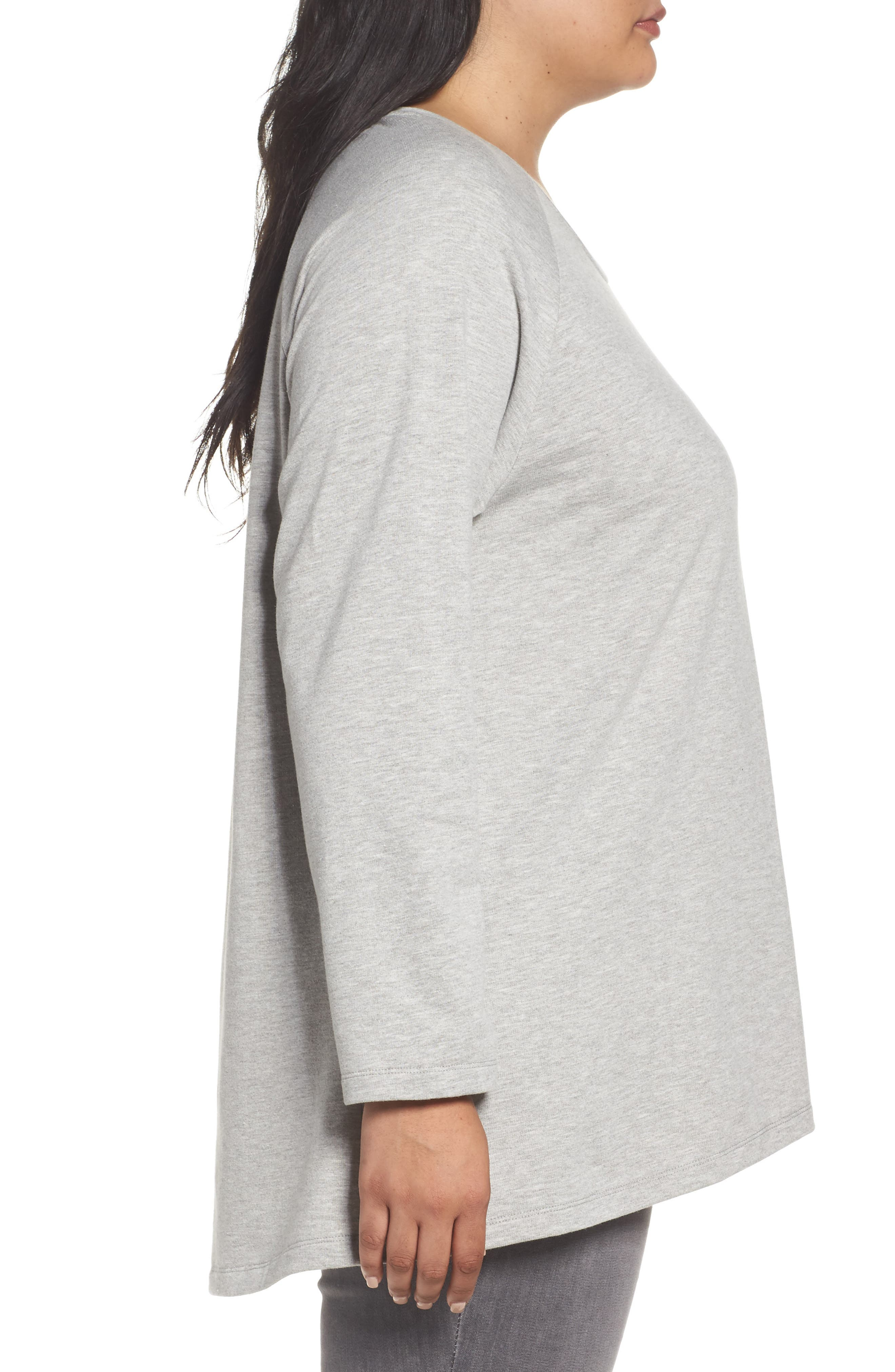 Alternate Image 3  - Caslon® High/Low Sweatshirt (Plus Size)