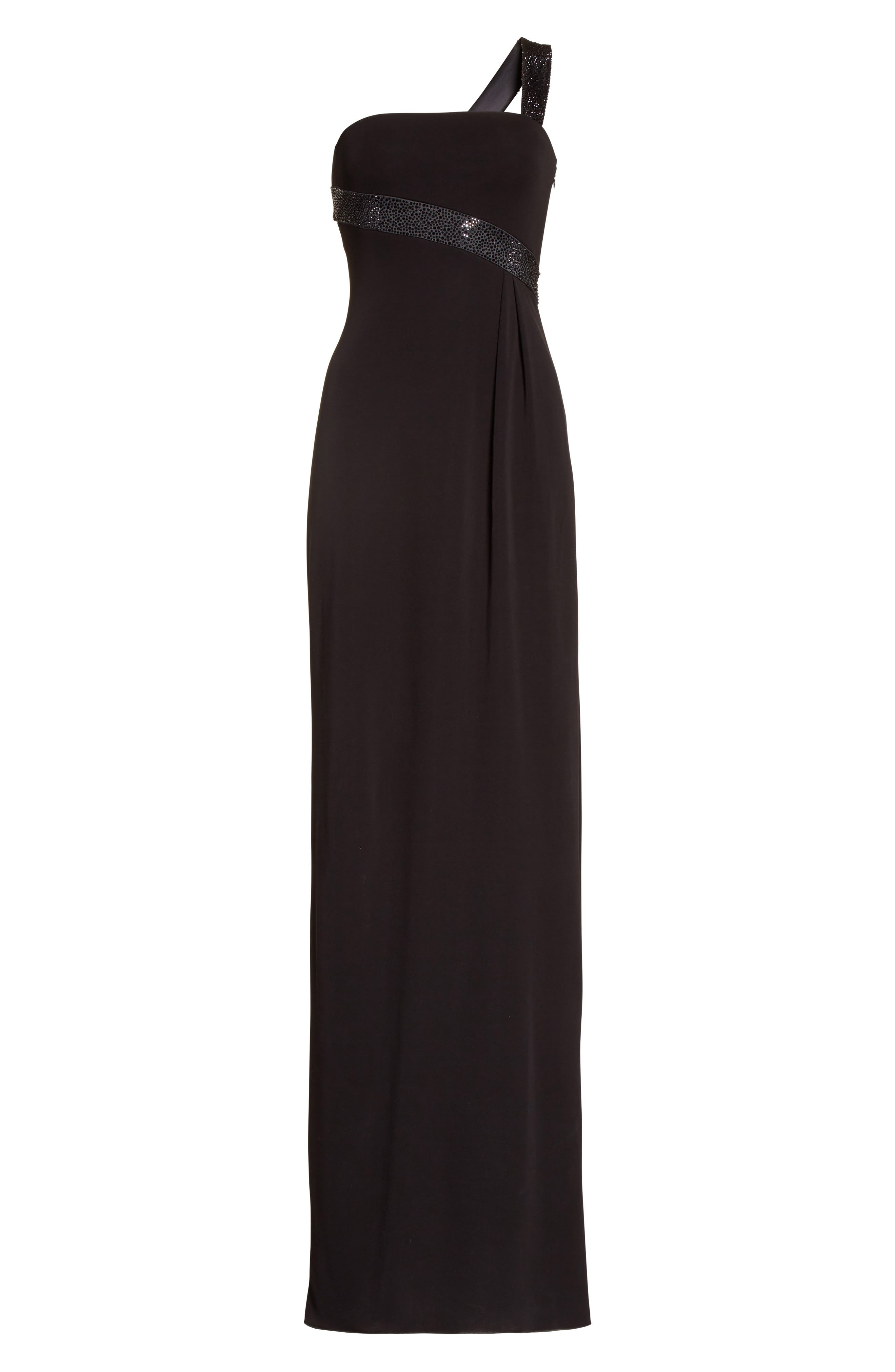 Crystal Trim Matte Jersey Gown,                             Alternate thumbnail 6, color,                             Grey