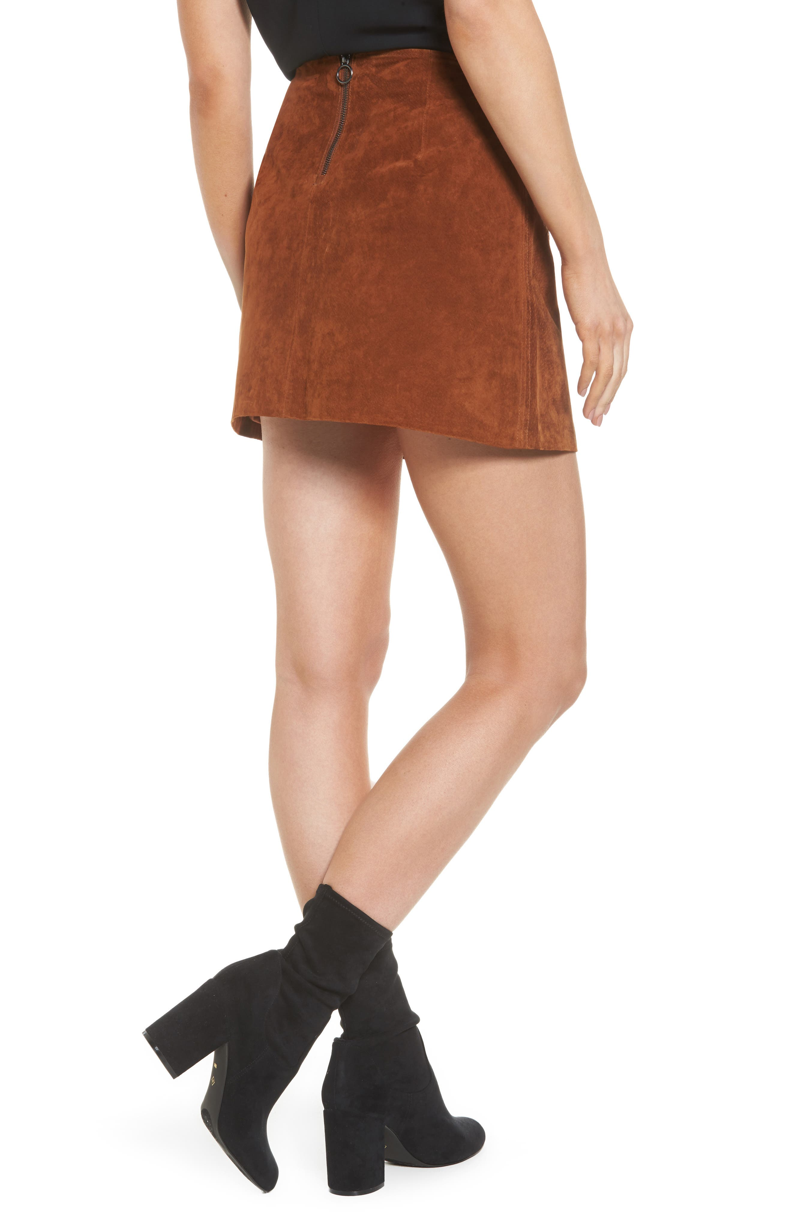 Suede Miniskirt,                             Alternate thumbnail 2, color,                             Spice