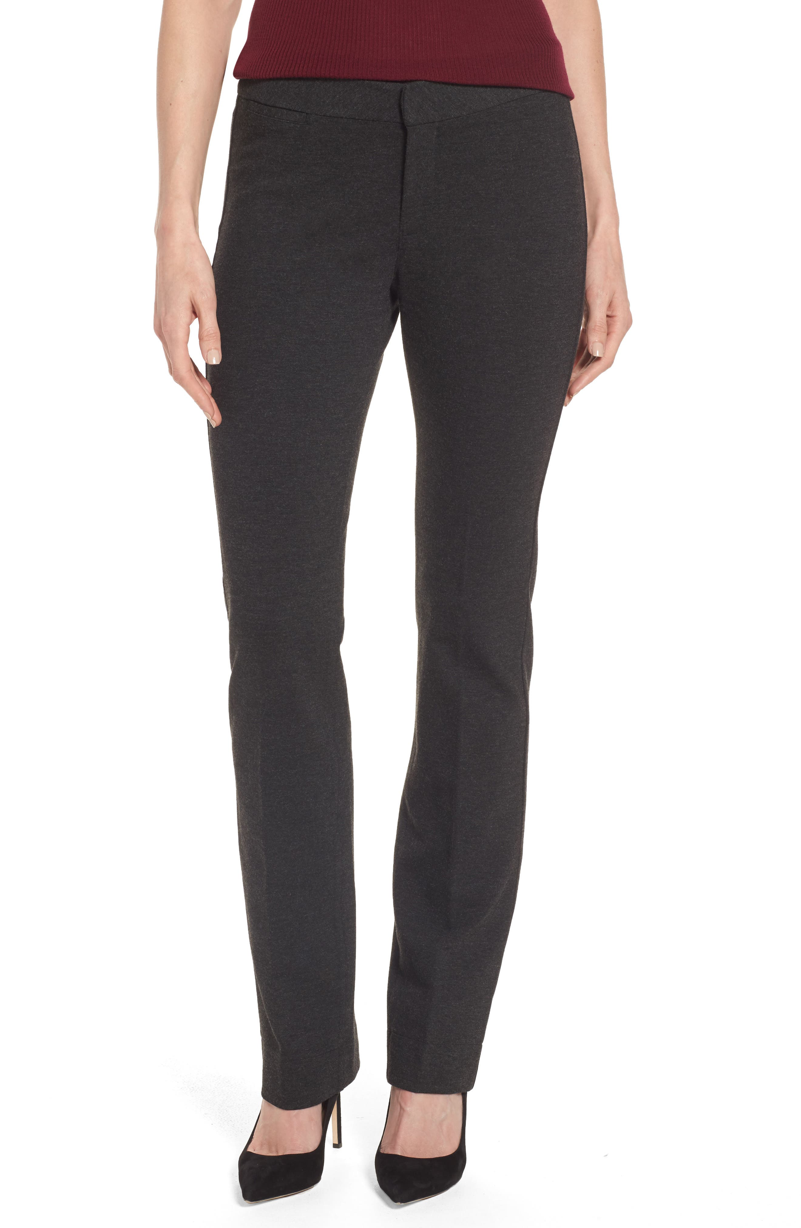 Stretch Knit Trousers,                             Main thumbnail 1, color,                             Charcoal