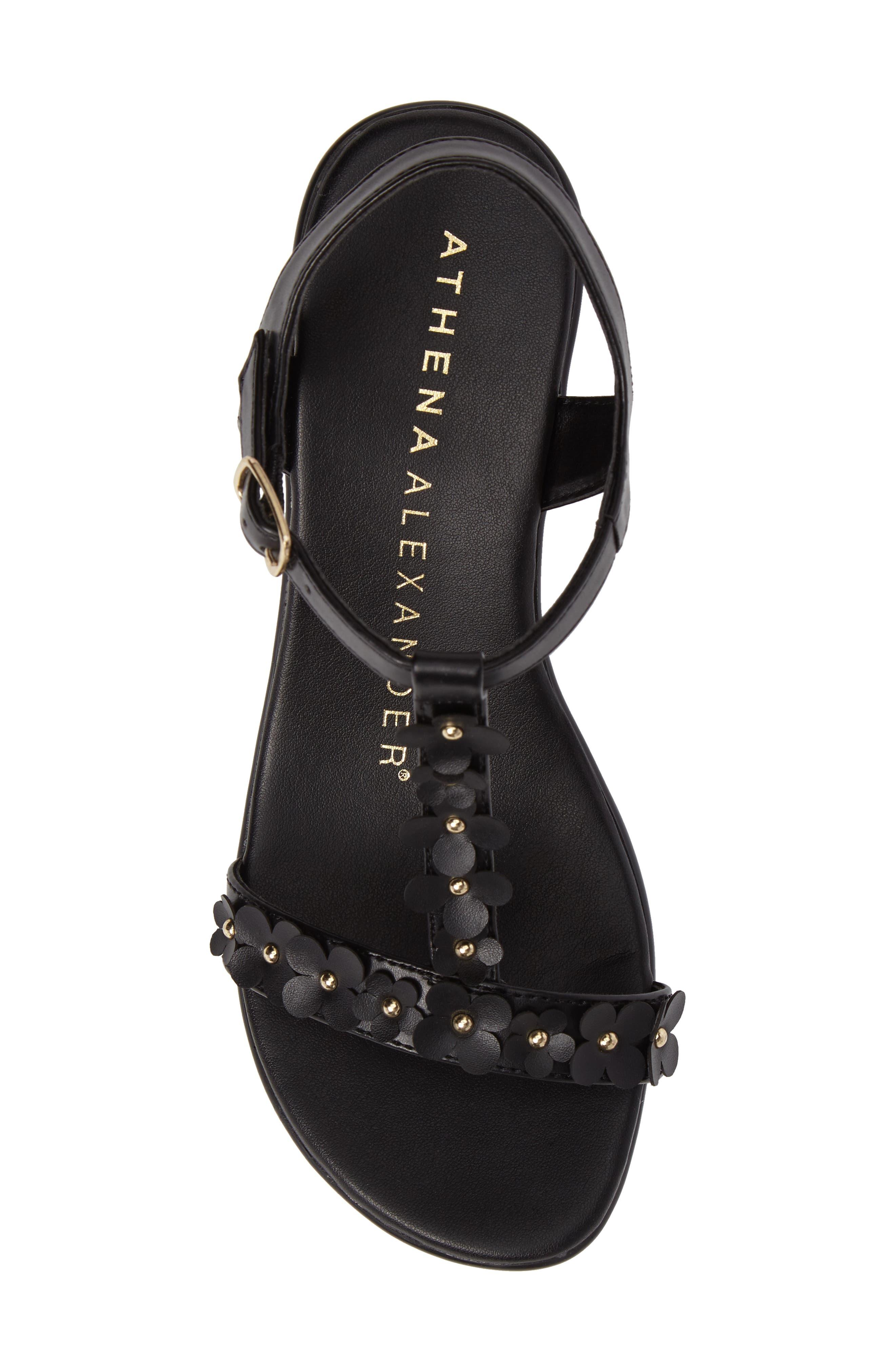 Evelina Sandal,                             Alternate thumbnail 5, color,                             Black Faux Leather