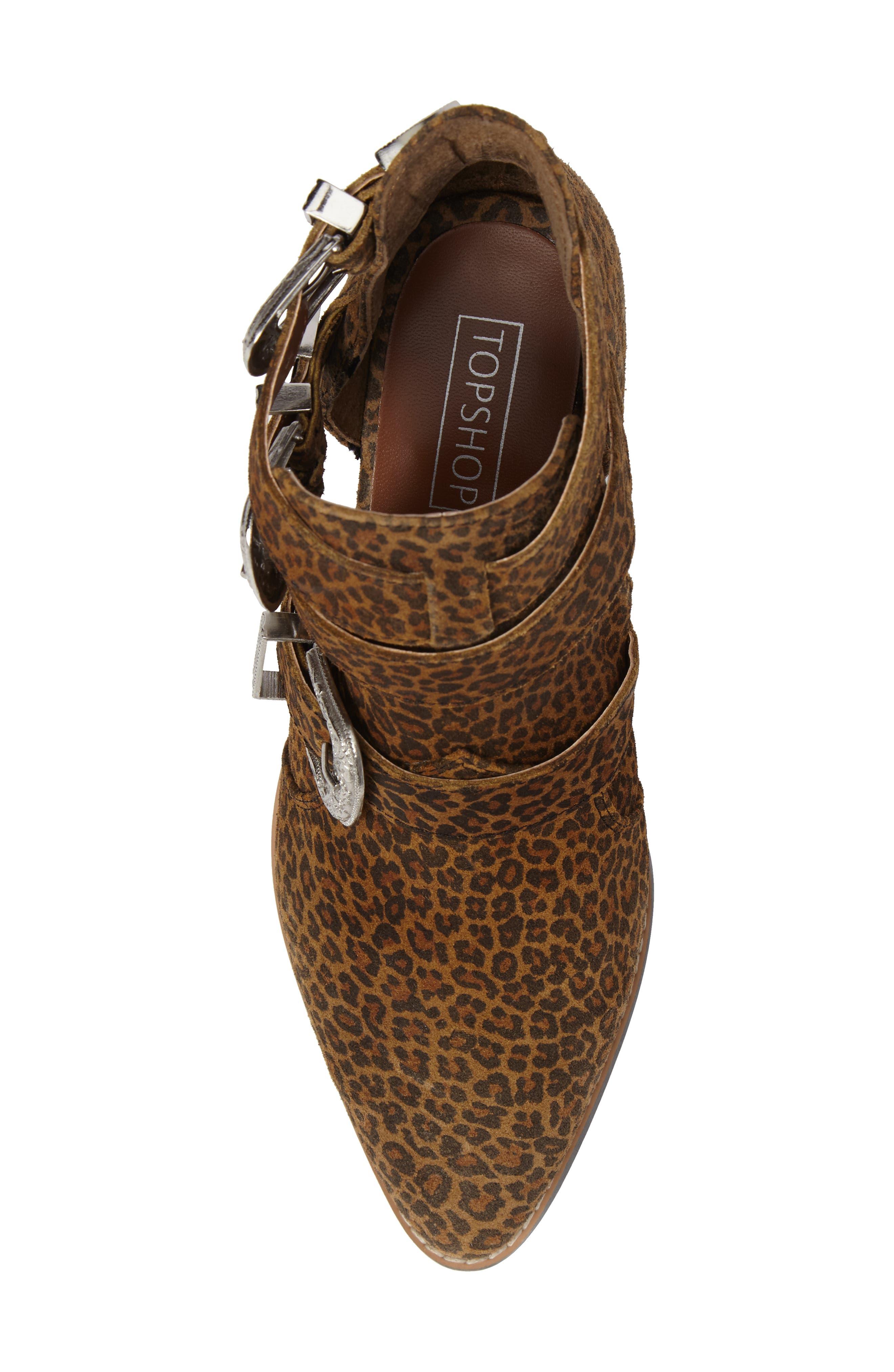 Marmalade Leopard Print Buckle Bootie,                             Alternate thumbnail 5, color,                             Leopard