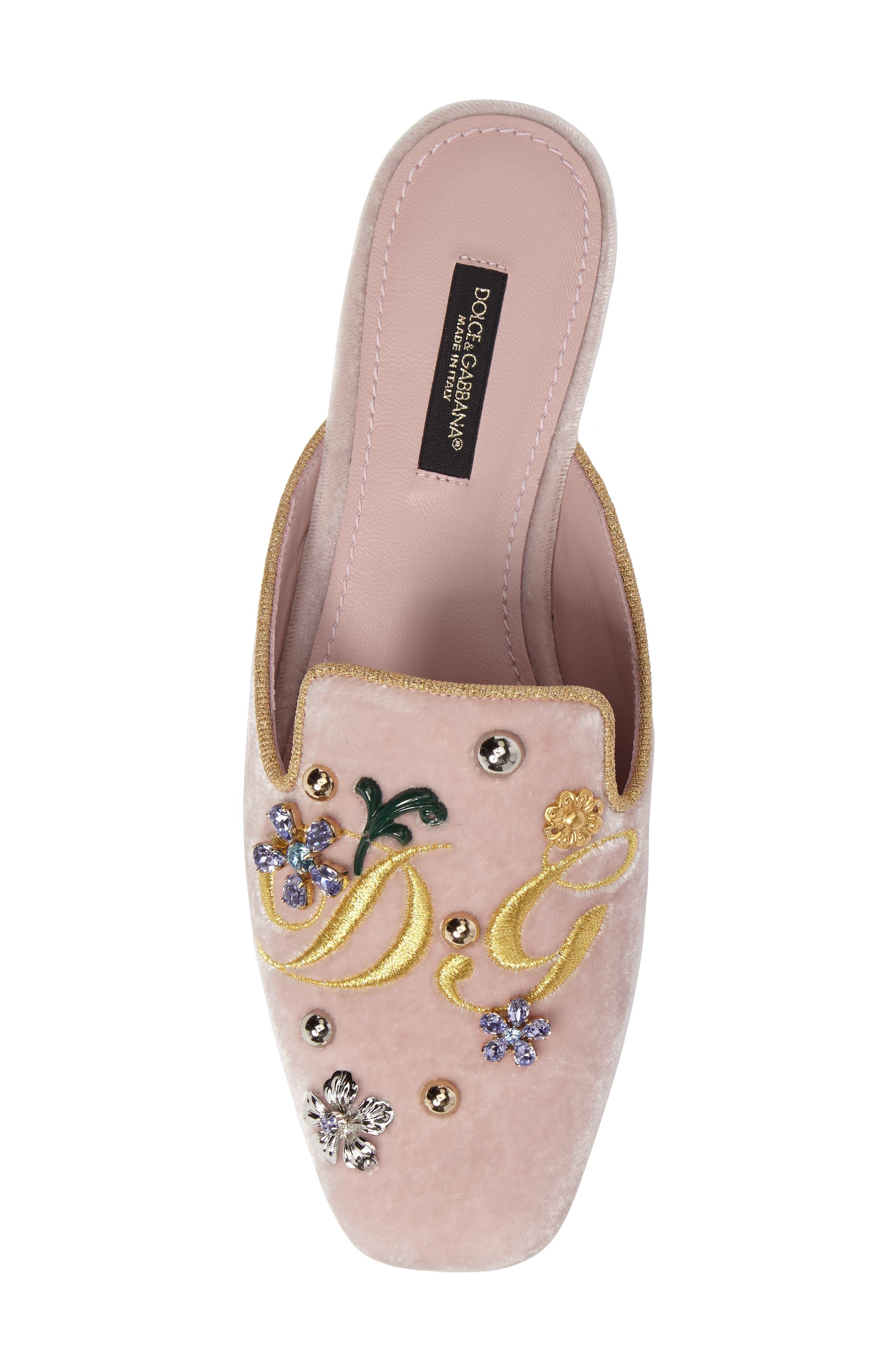 Embellished Velvet Mule,                             Alternate thumbnail 5, color,                             Pink/ Gold