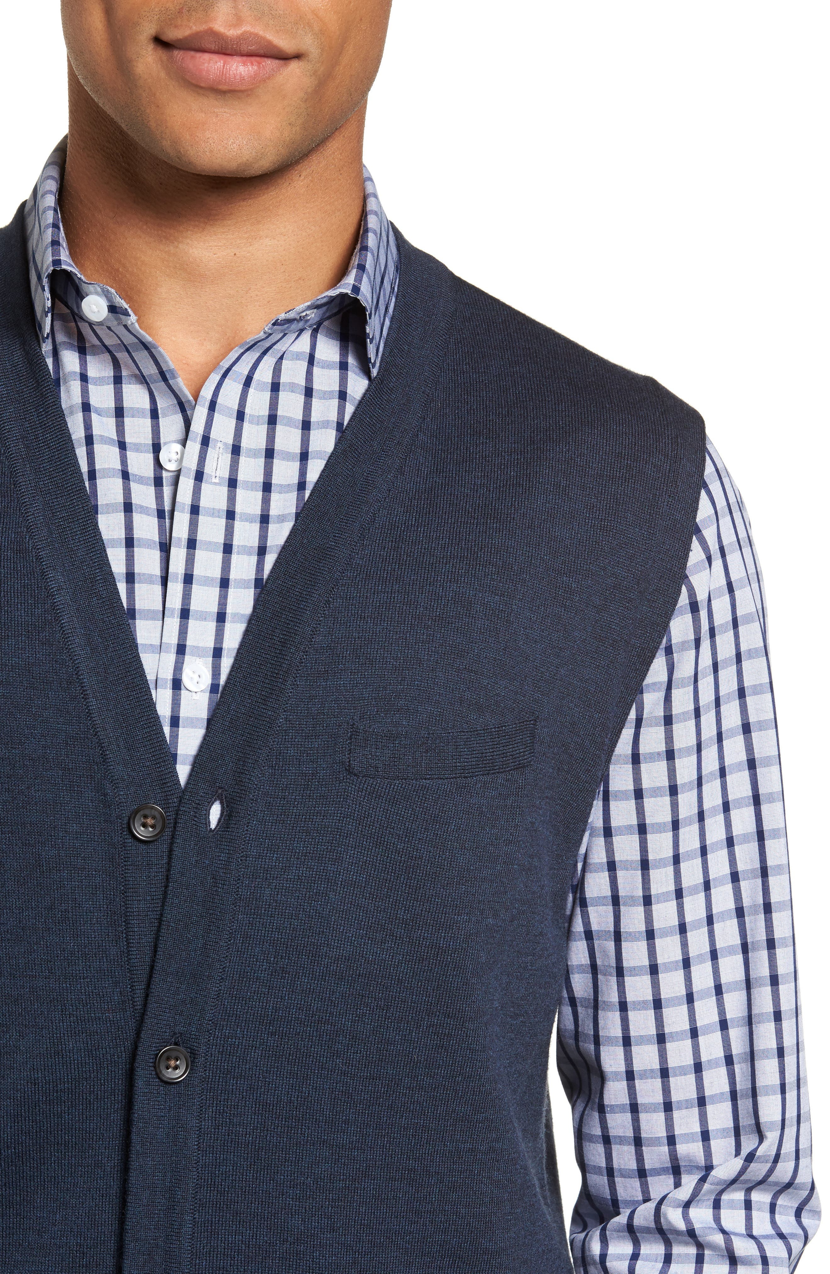 Alternate Image 4  - Nordstrom Men's Shop Merino Button Front Sweater Vest
