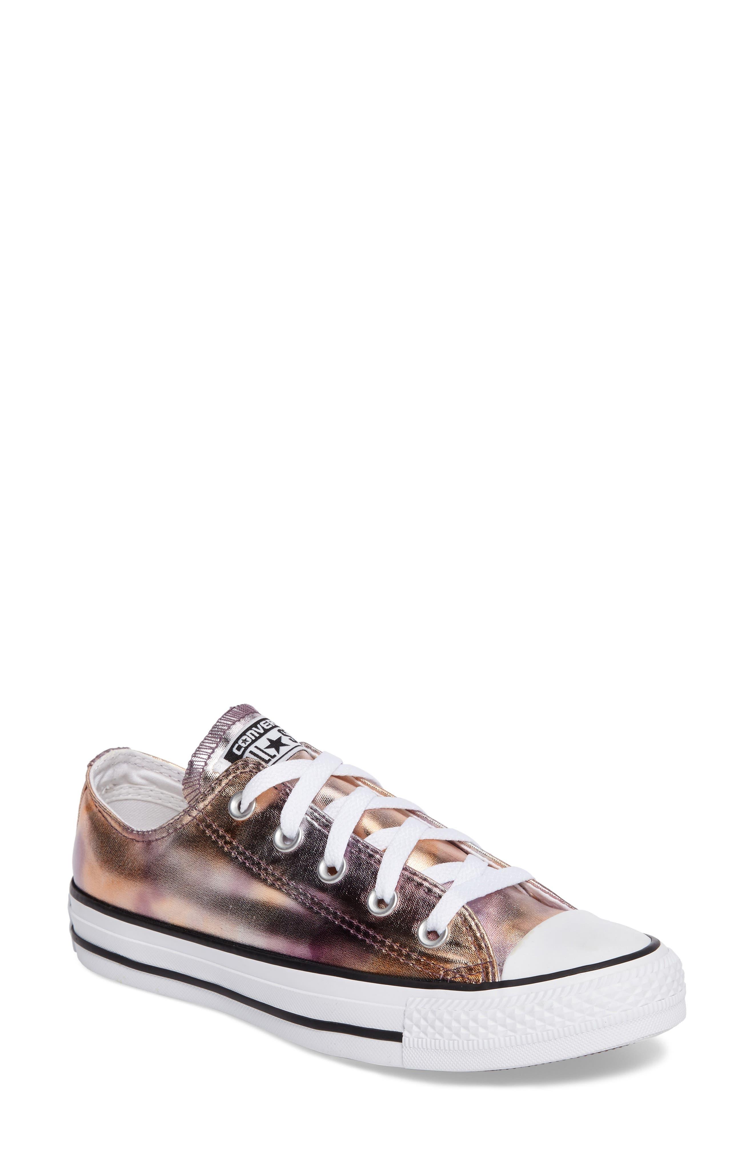 Chuck Taylor<sup>®</sup> All Star<sup>®</sup> Seasonal Metallic Ox Low Top Sneaker,                             Main thumbnail 1, color,                             Dusk Pink