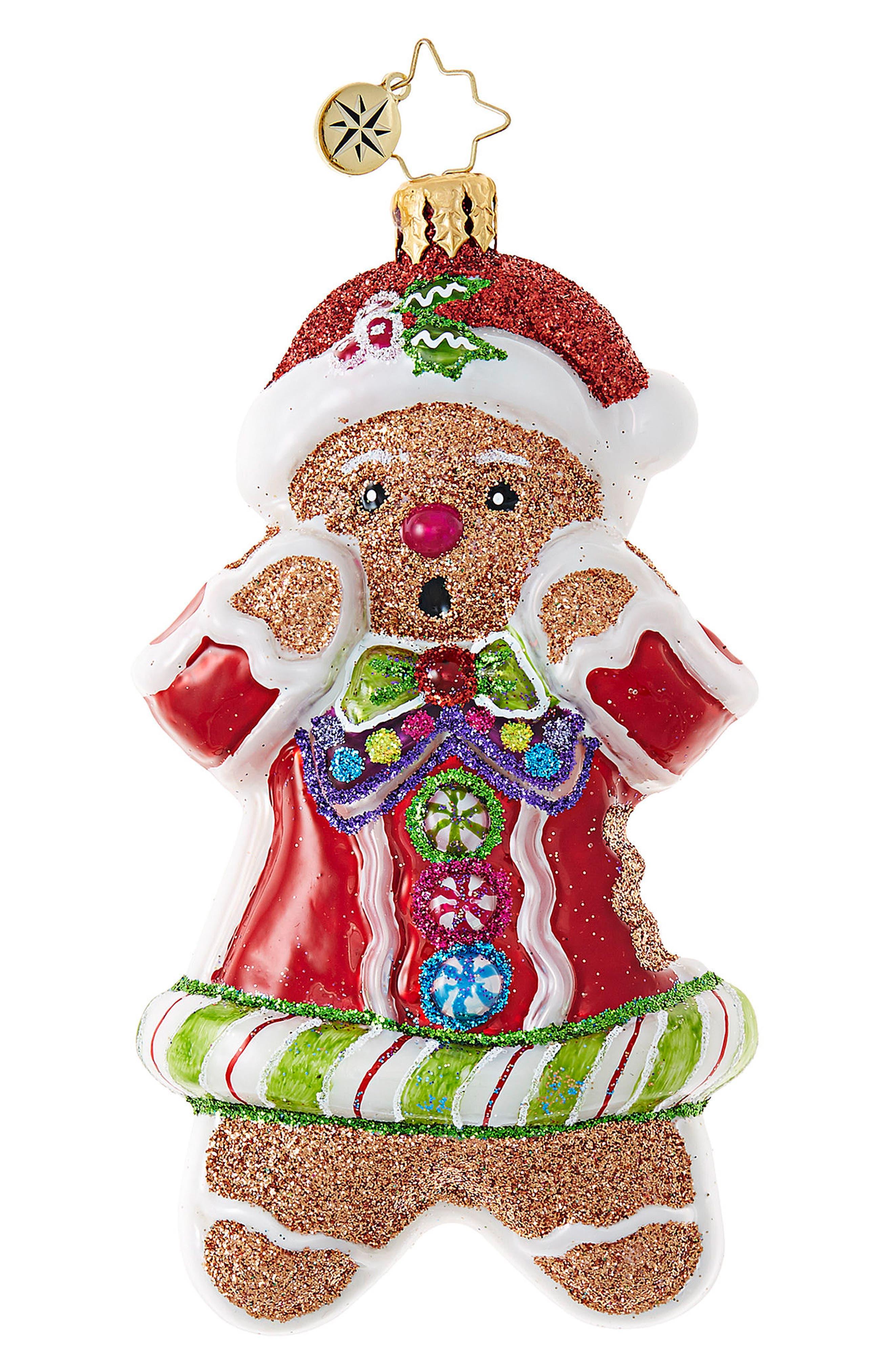 Just One Bite Gingerbread Man Santa Claus Ornament,                         Main,                         color, Red/ Multi