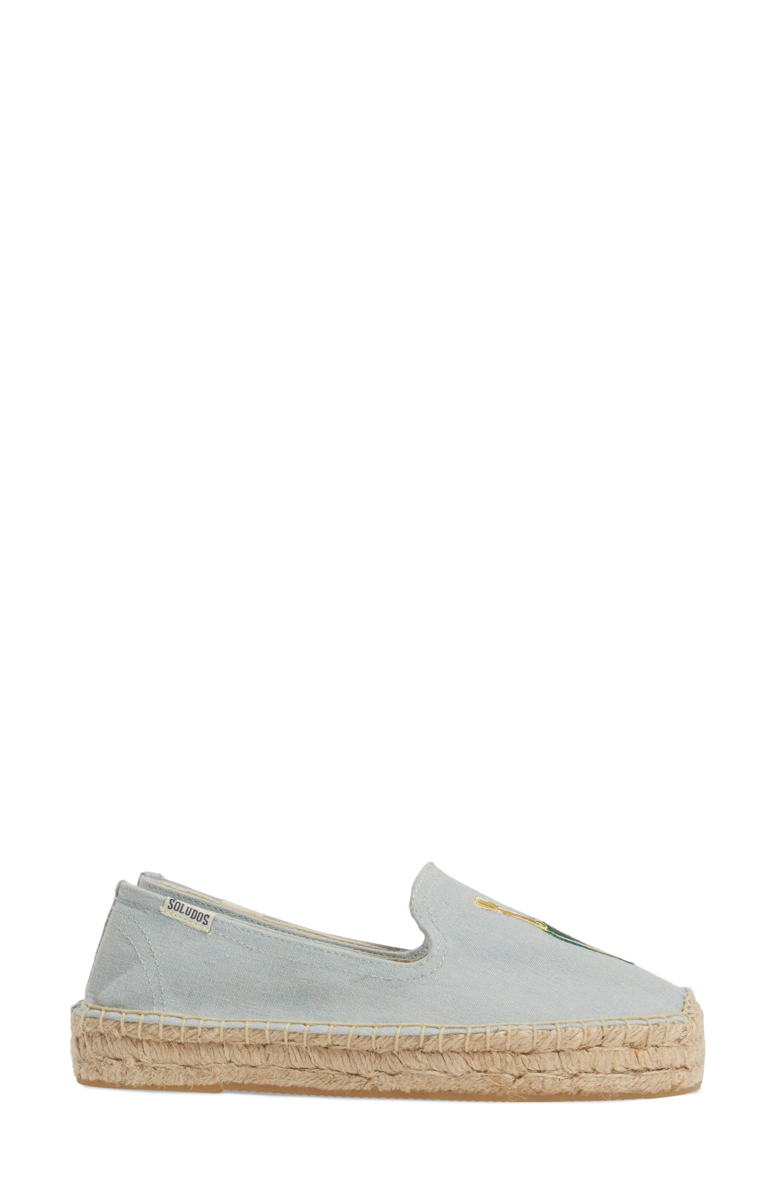 Mimosa Embroidered Platform Espadrille,                             Alternate thumbnail 3, color,                             Chambray