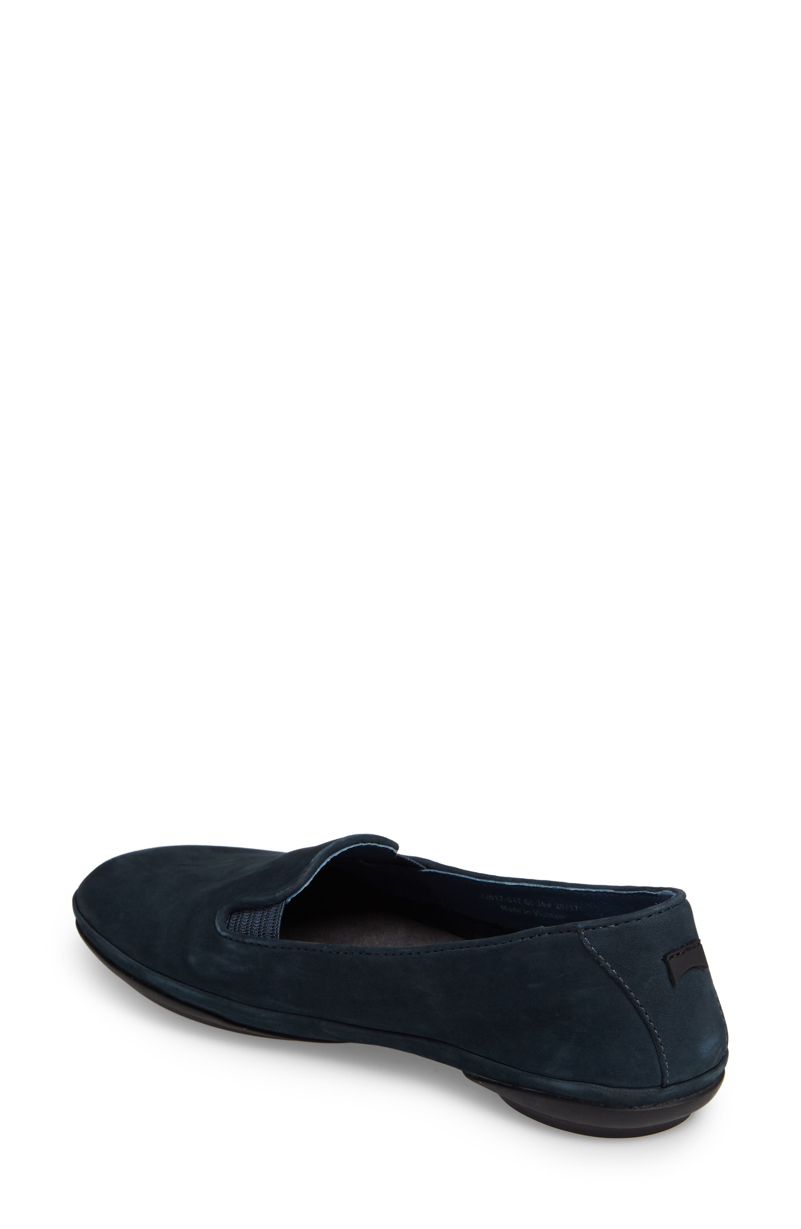 'Right Nina' Leather Flat,                             Alternate thumbnail 2, color,                             Dark Blue Leather
