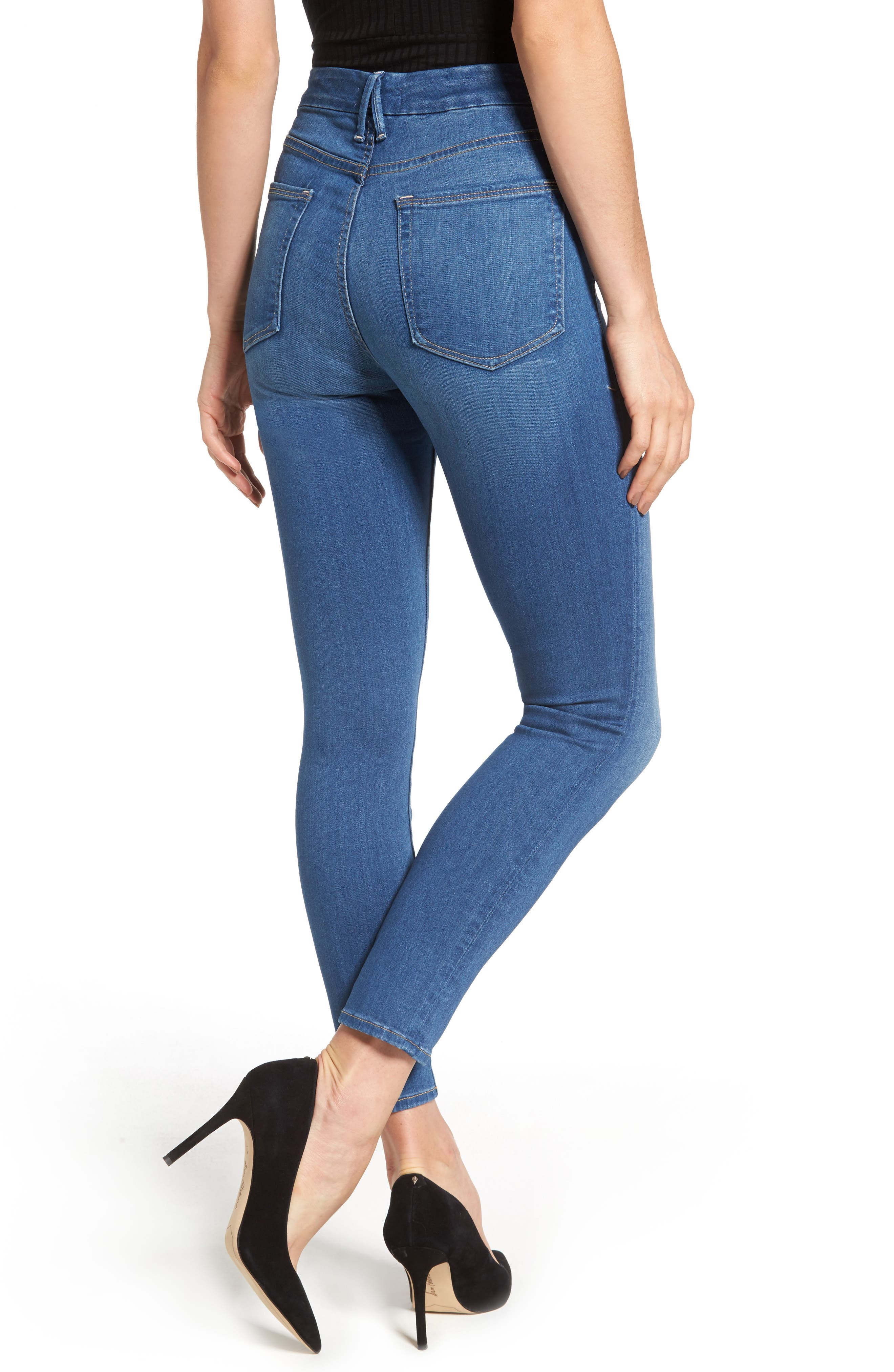 Alternate Image 2  - Good American Good Waist High Waist Crop Skinny Jeans (Blue 056) (Extended Sizes)